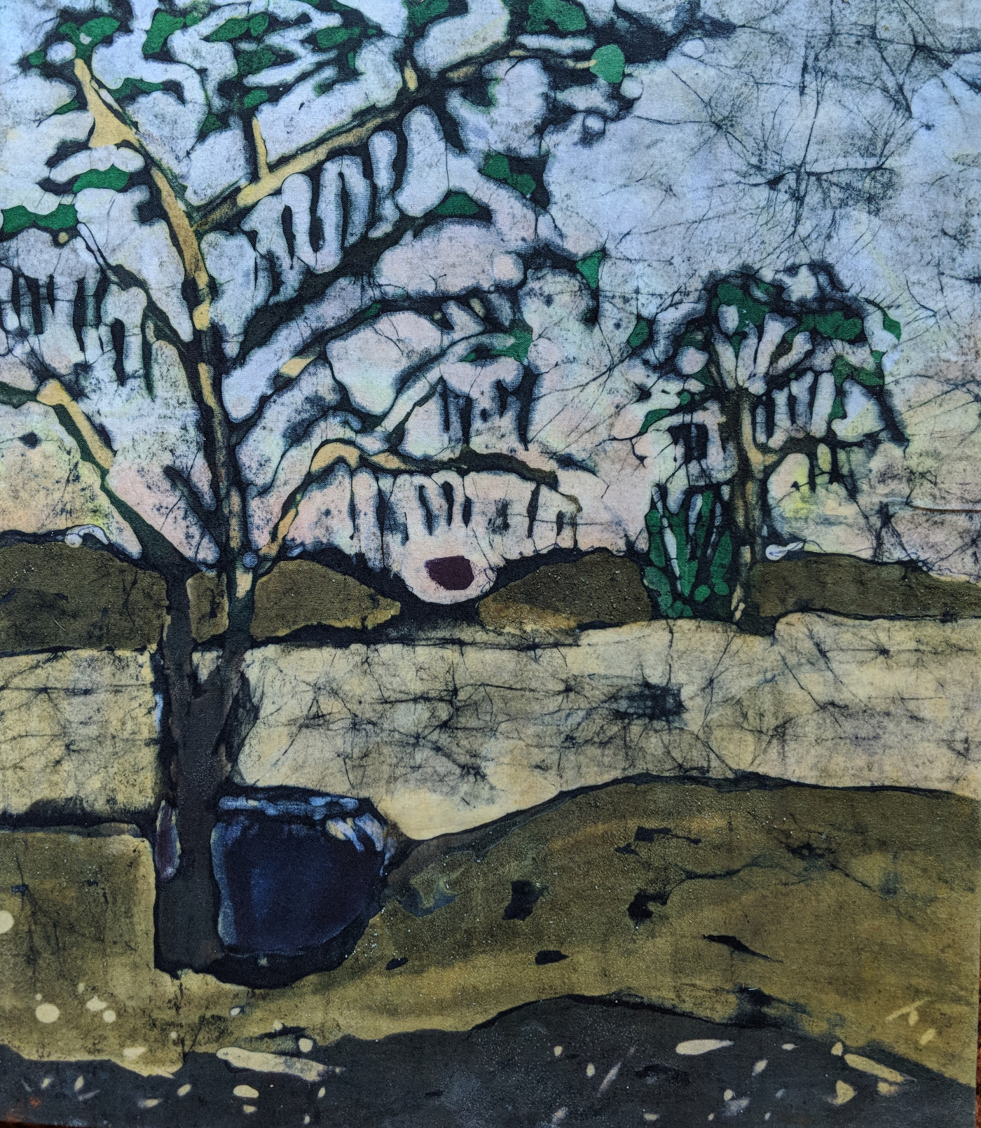 """Day's End"", (Gathering From The Moringa Tree), batik, 13"" x 15"", $295 (framed)"