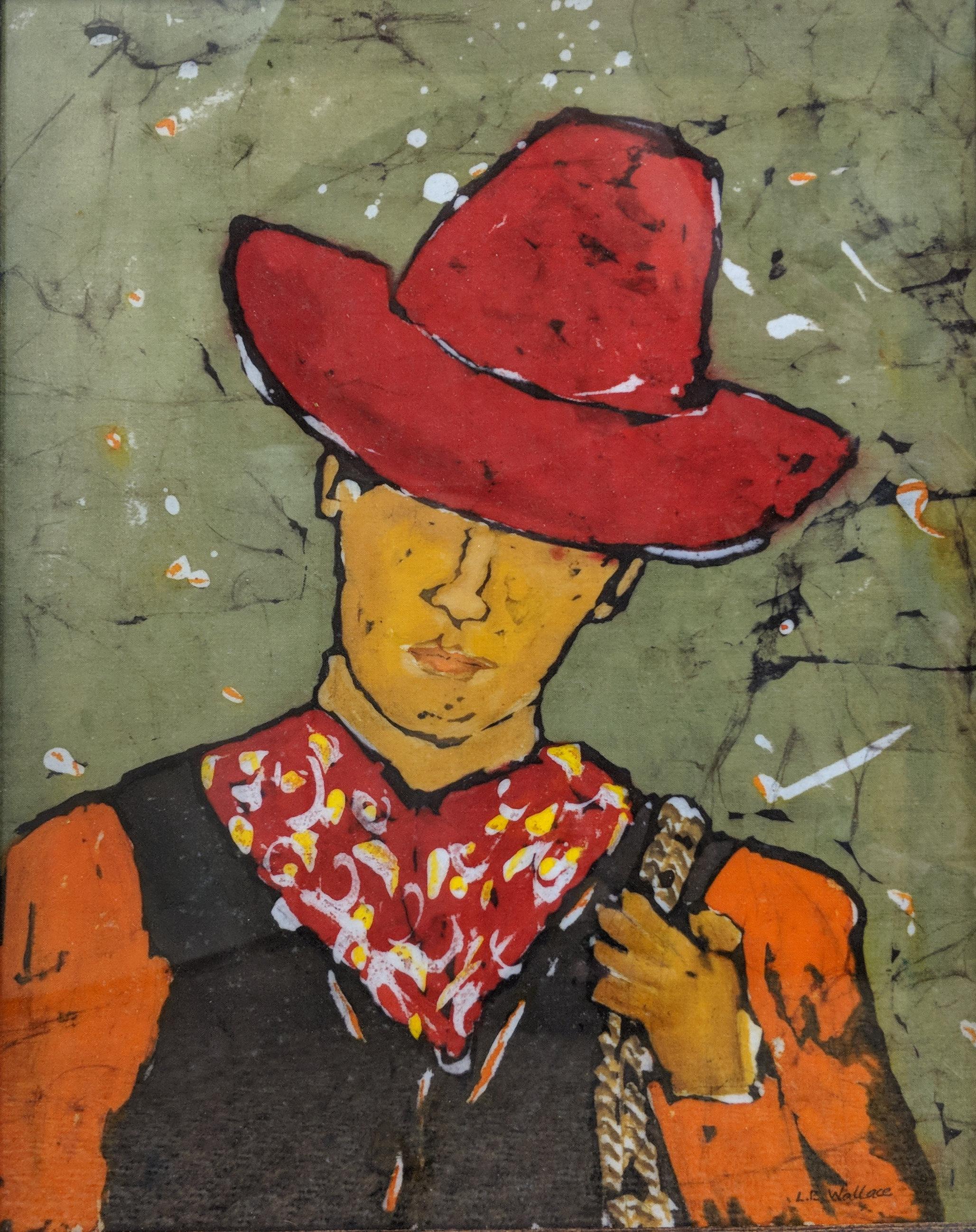 """Cowpoke"", batik, 16"" x 12"", $275 (framed)"