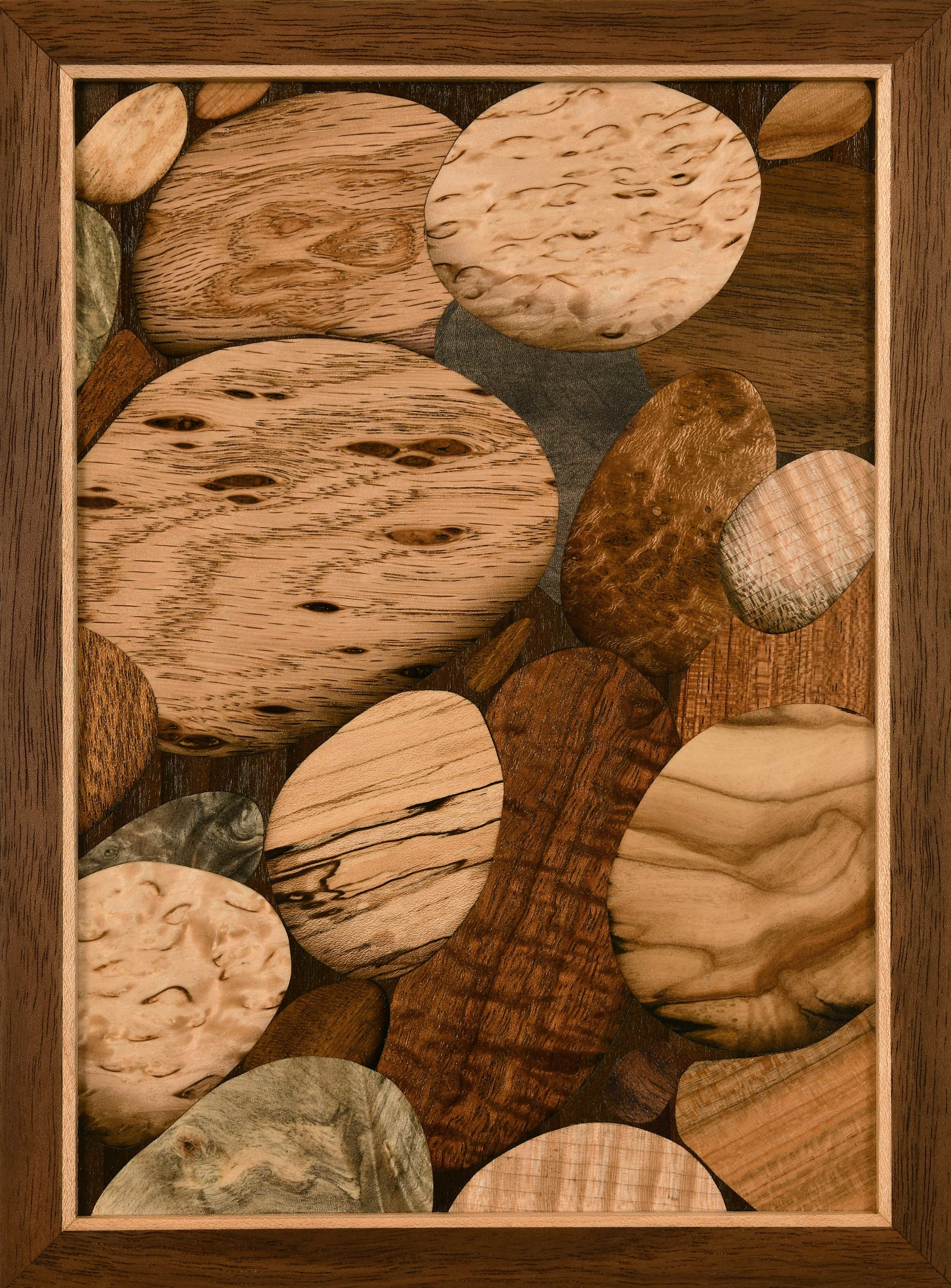 """Water, Waves & Time"""", marquetry, 6"""" x 8"""", $850"""