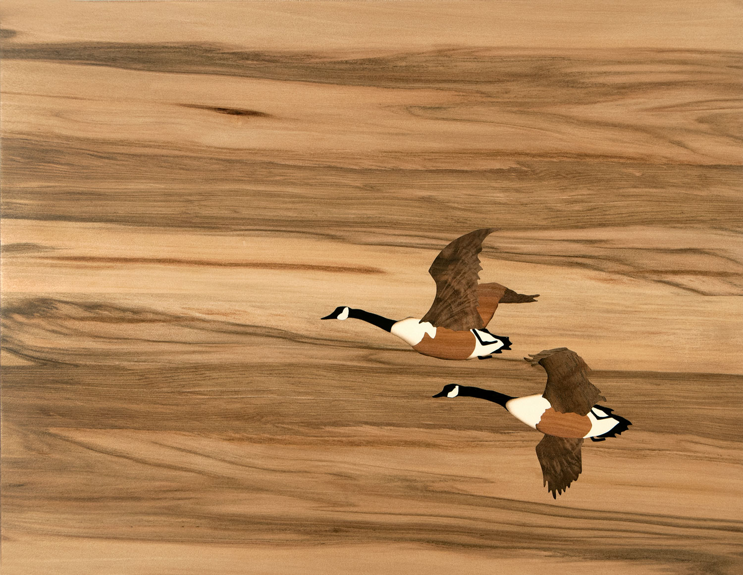 """""""Two Geese"""", marquetry, 11.75"""" x 15.5"""", $1,200"""