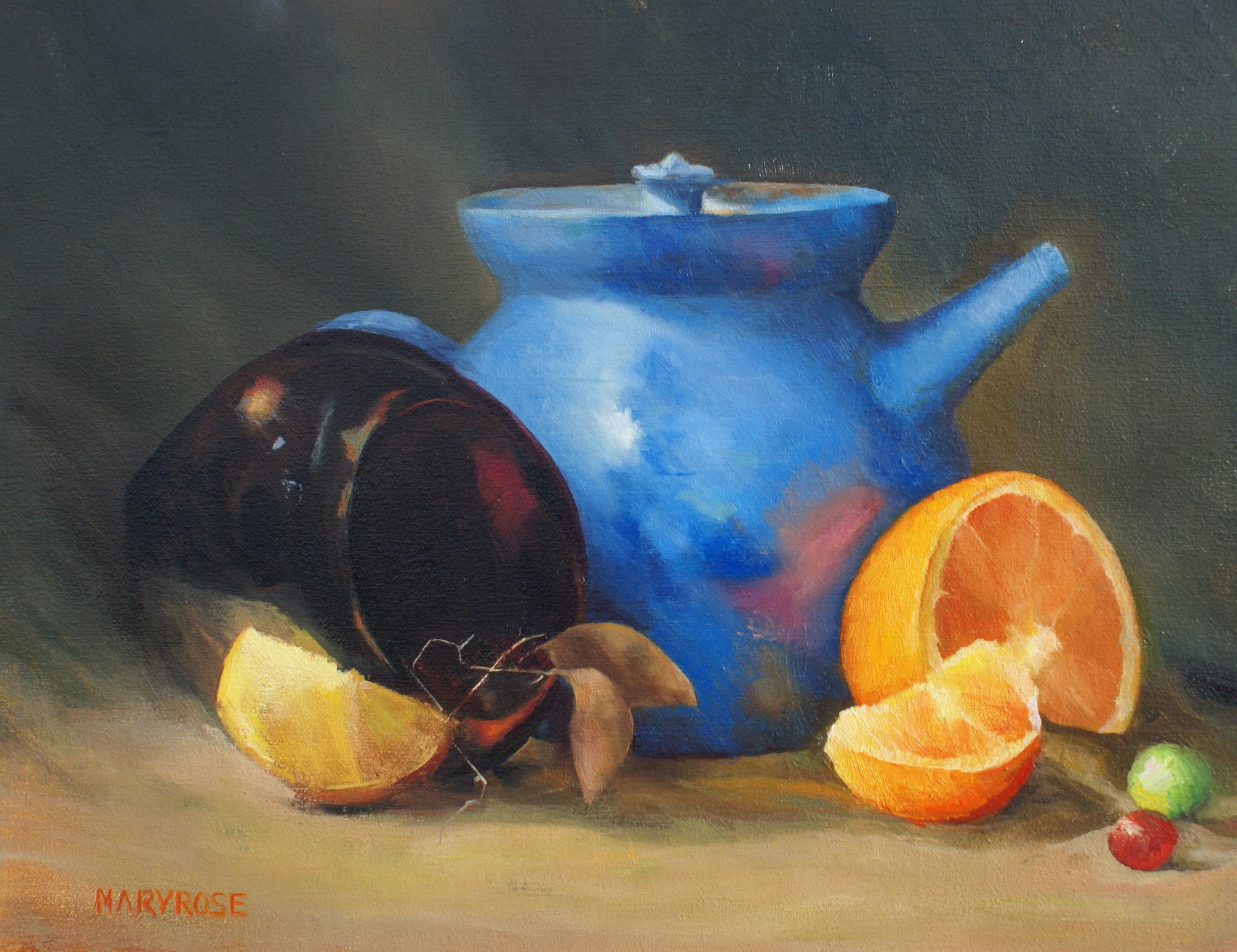 """""""The Blue Teapot"""", oil, 8"""" x 10"""", $950 (framed)"""