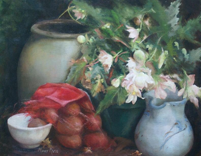 """""""Begonias"""", oil, 16"""" x 20"""", $3,200 (framed)"""