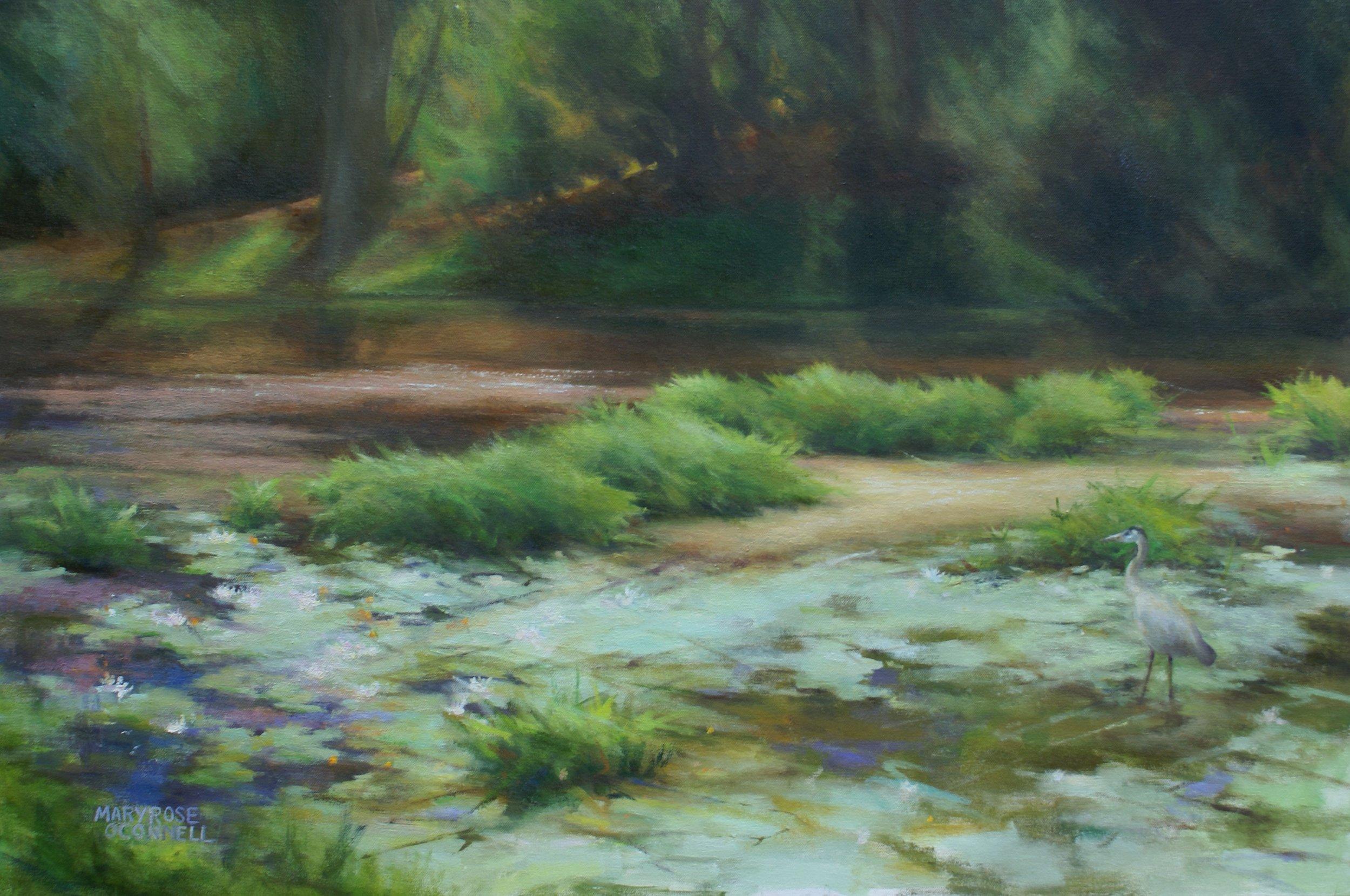 """""""Mill Pond On The Shawsheen River"""", oil, 24"""" x 36"""", $4,200 (framed)"""
