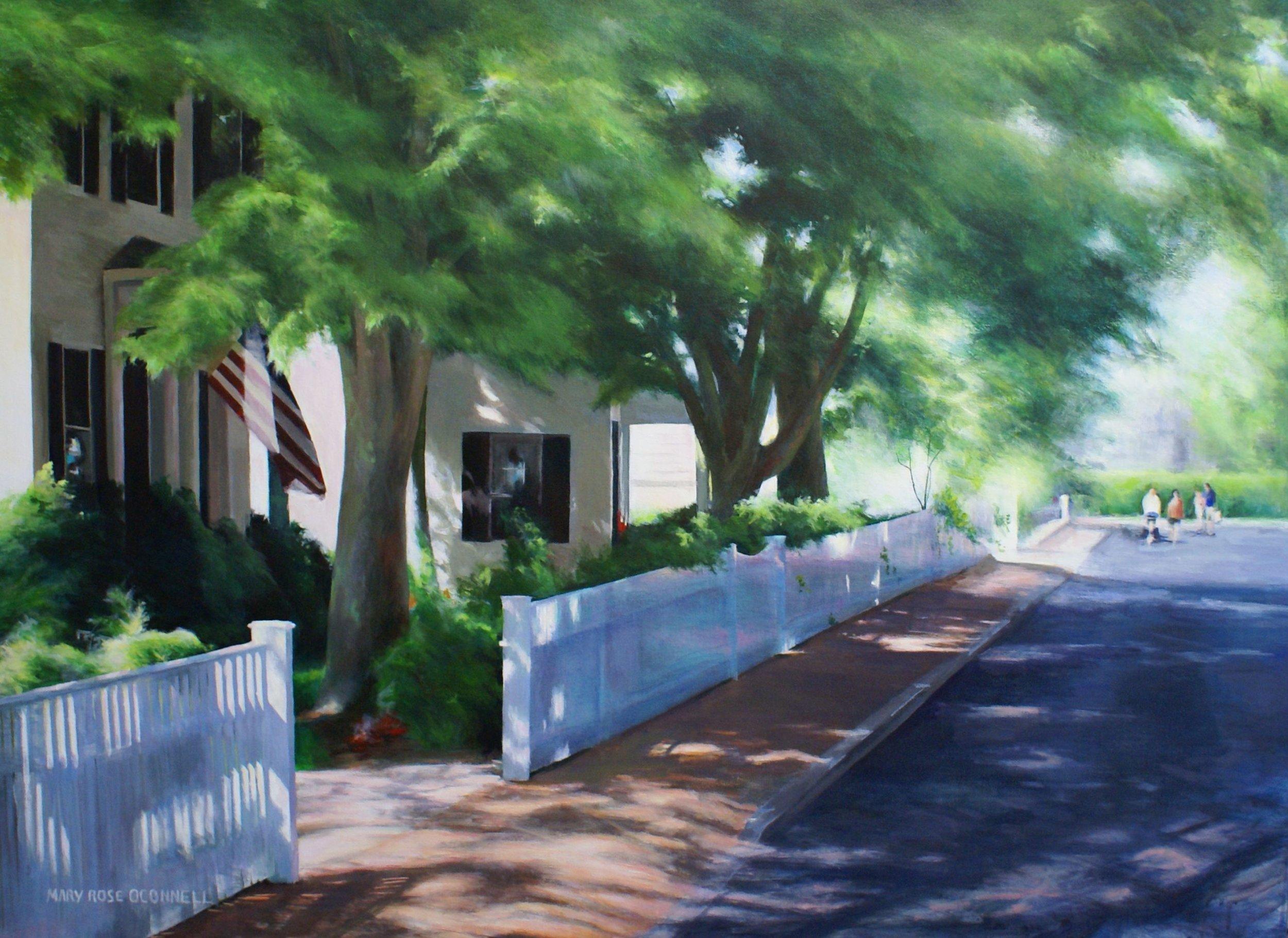 """""""Summer Street"""", oil, 36"""" x 42"""", $4,300 (floater frame)"""