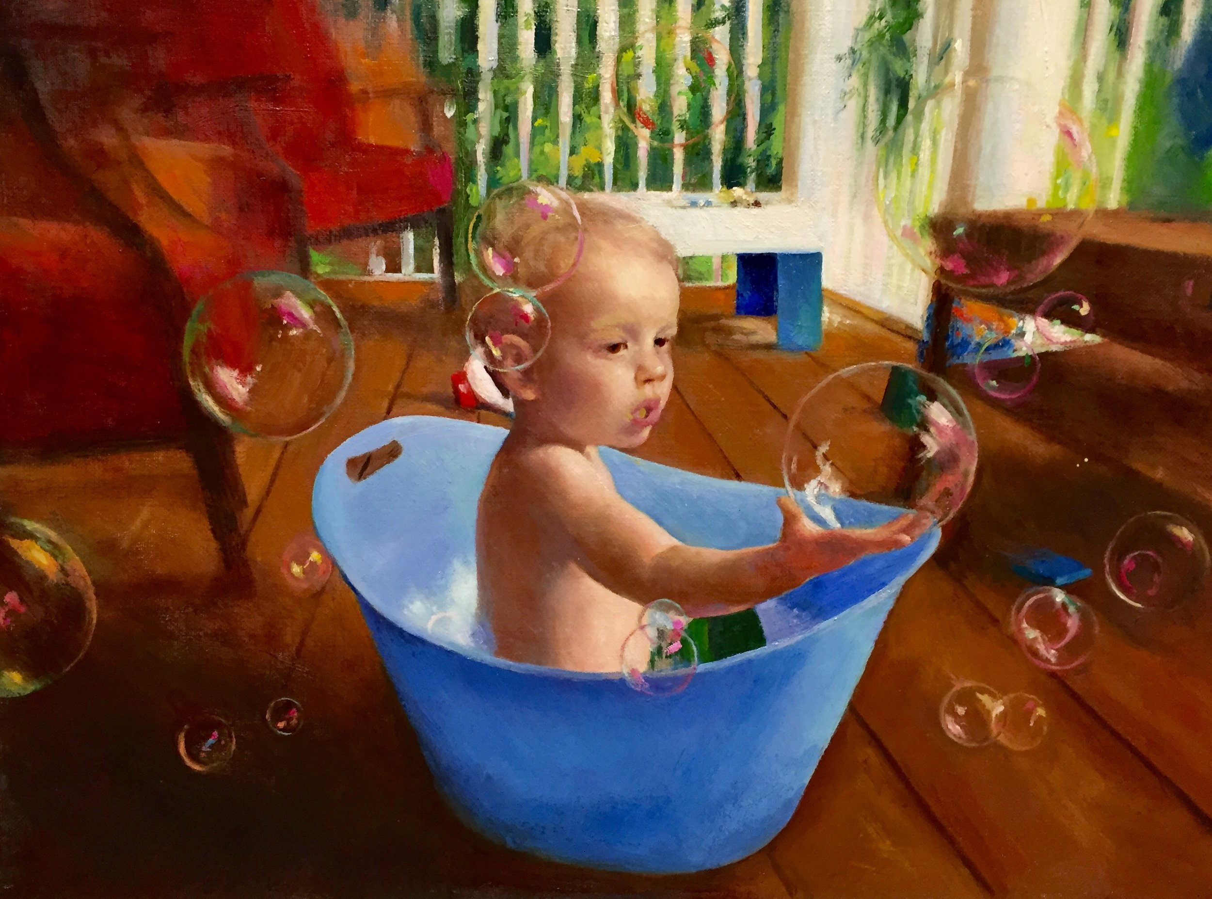 """Flynn With Bubbles"", oil, 12"" x 16"", (commission)"