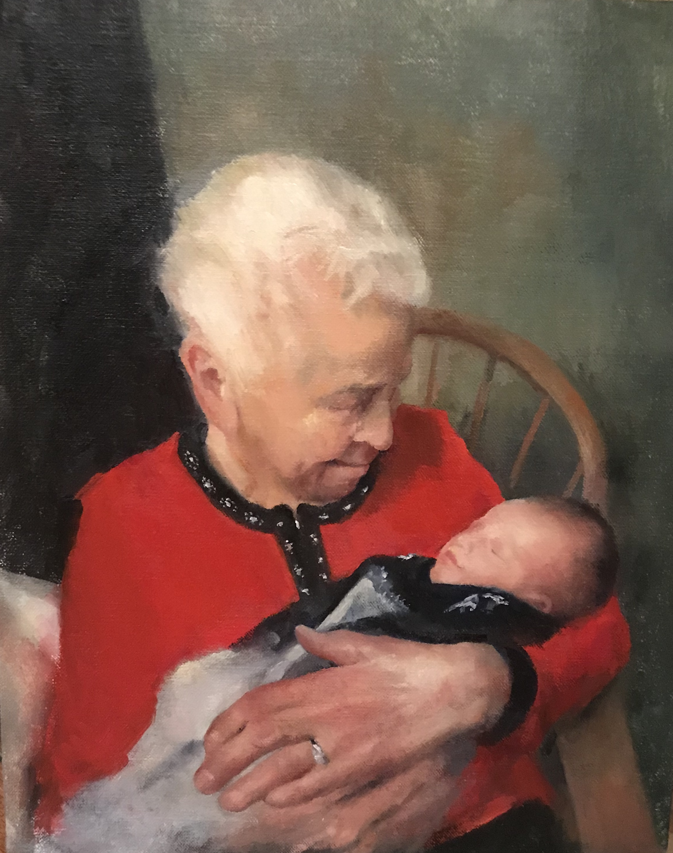 """Nana"", oil, 14"" x 11"", study for commission"