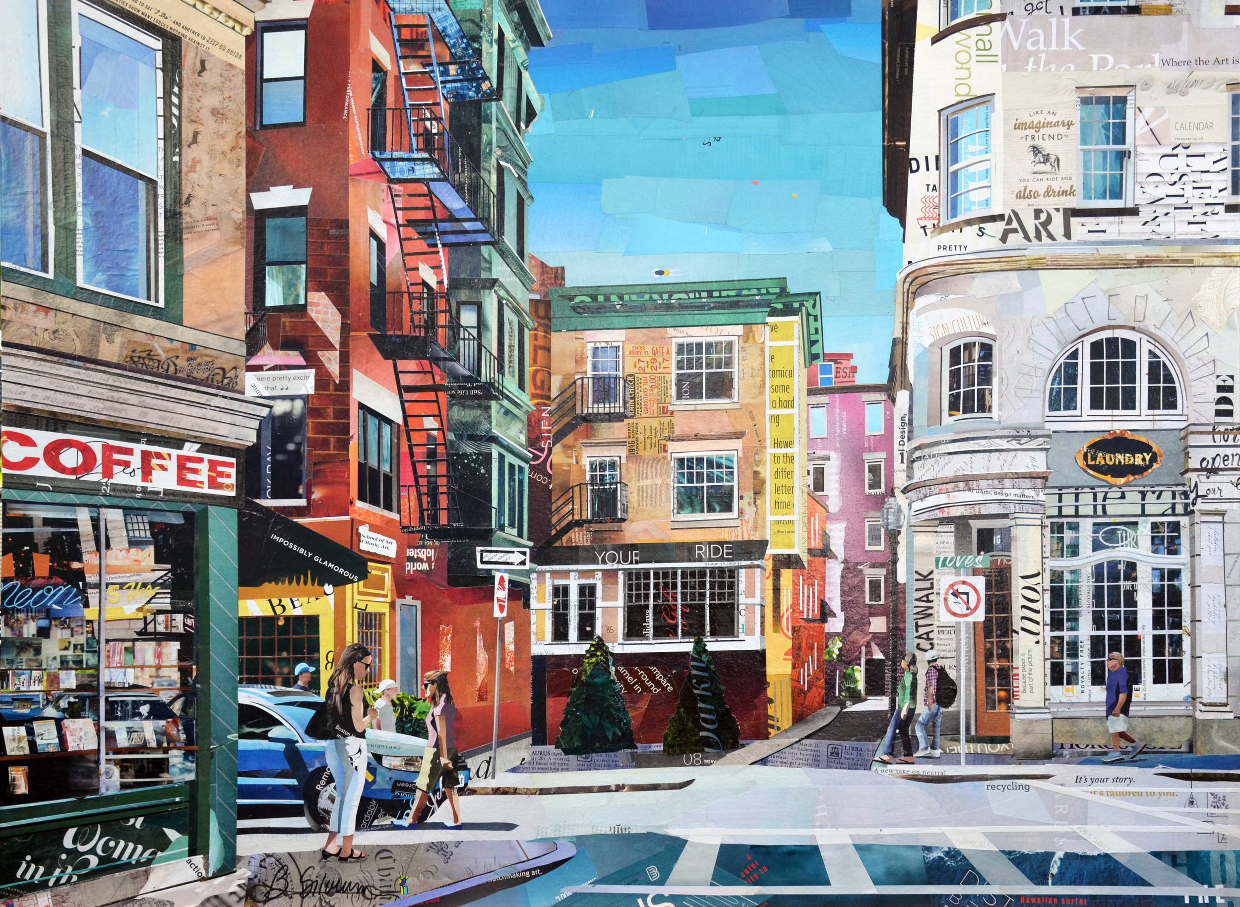 """Boston Coffee"", collage, 30"" x 40"", $3,000 SOLD"