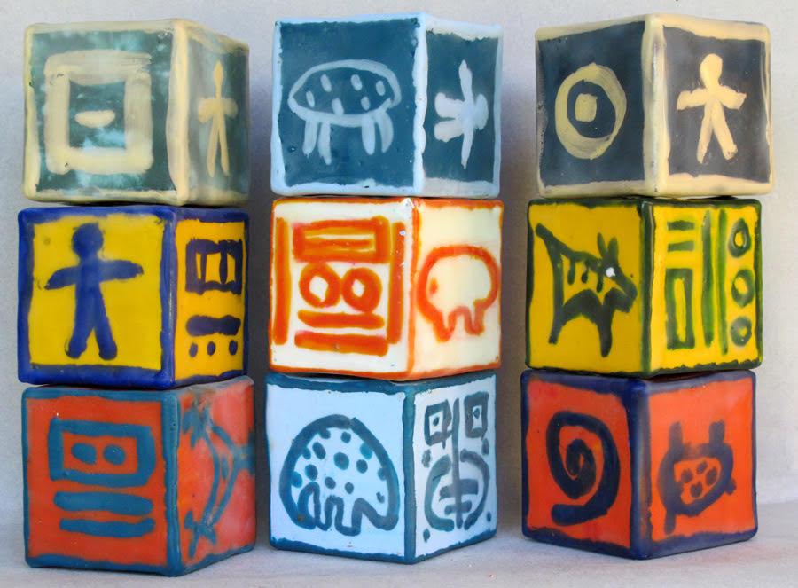 """""""Blocks"""", encaustic, 2"""" x 2"""" each, $30 each"""