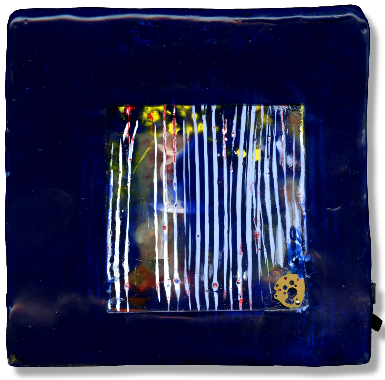 """Blue Window"", encaustic, 5"" x 5"", $150"