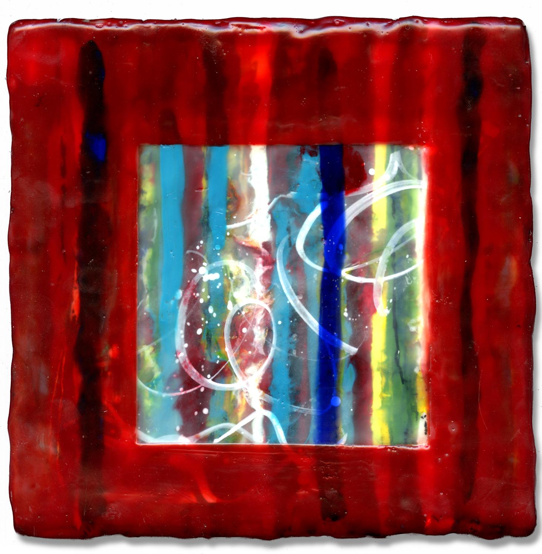 """""""Red Window"""", encaustic, 8"""" x 8"""", $200"""