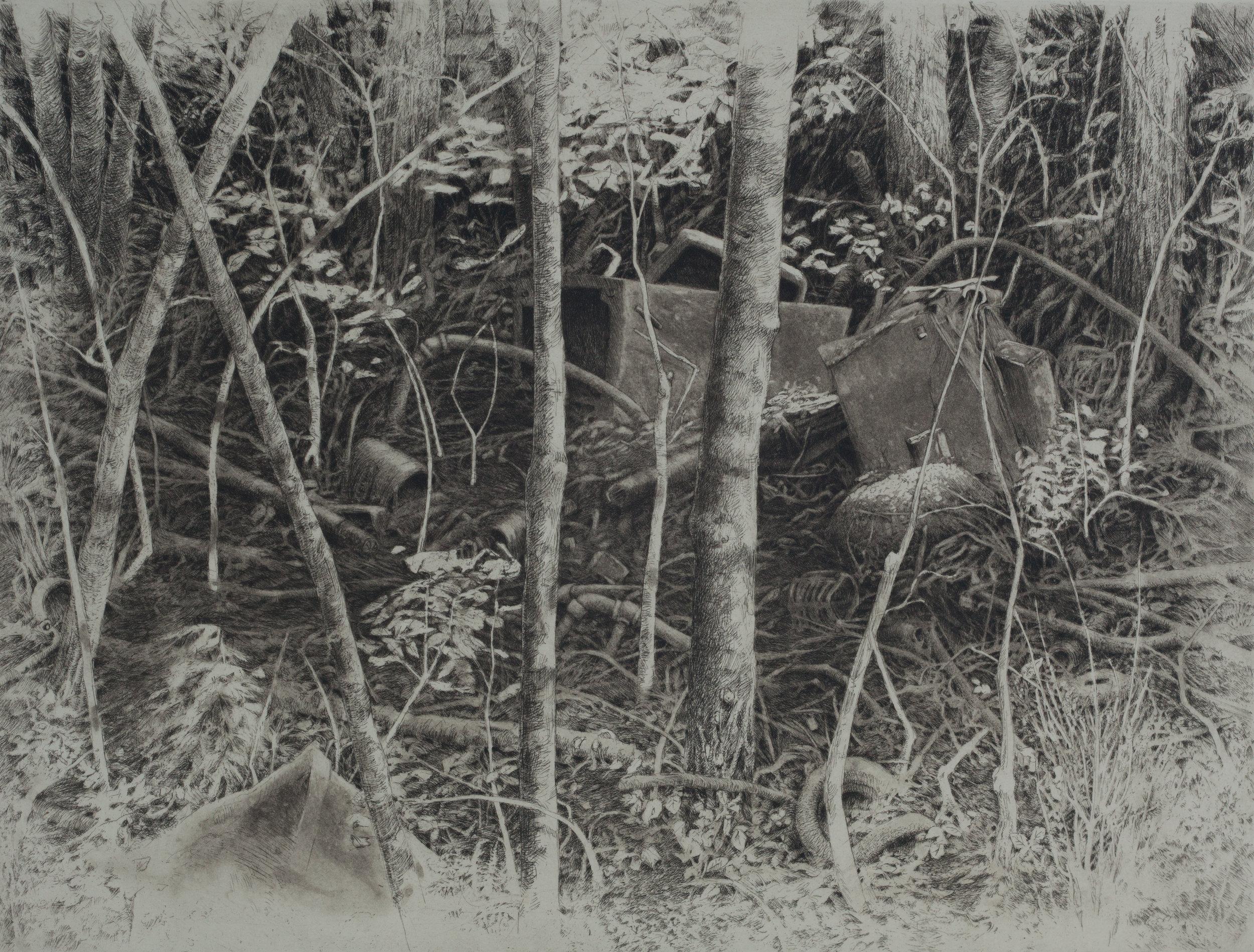 """'The Farmhouse Burned in 1969', 22""""x25"""", $340 framed, $250 unframed"""