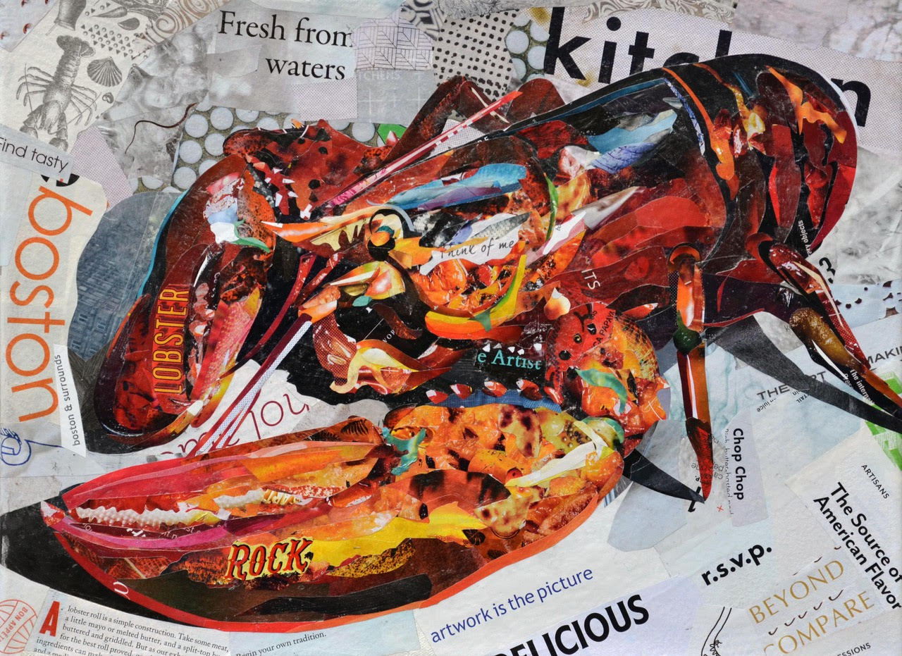 """Rock Lobster I"", collage, 12"" x 16"", $575 SOLD"