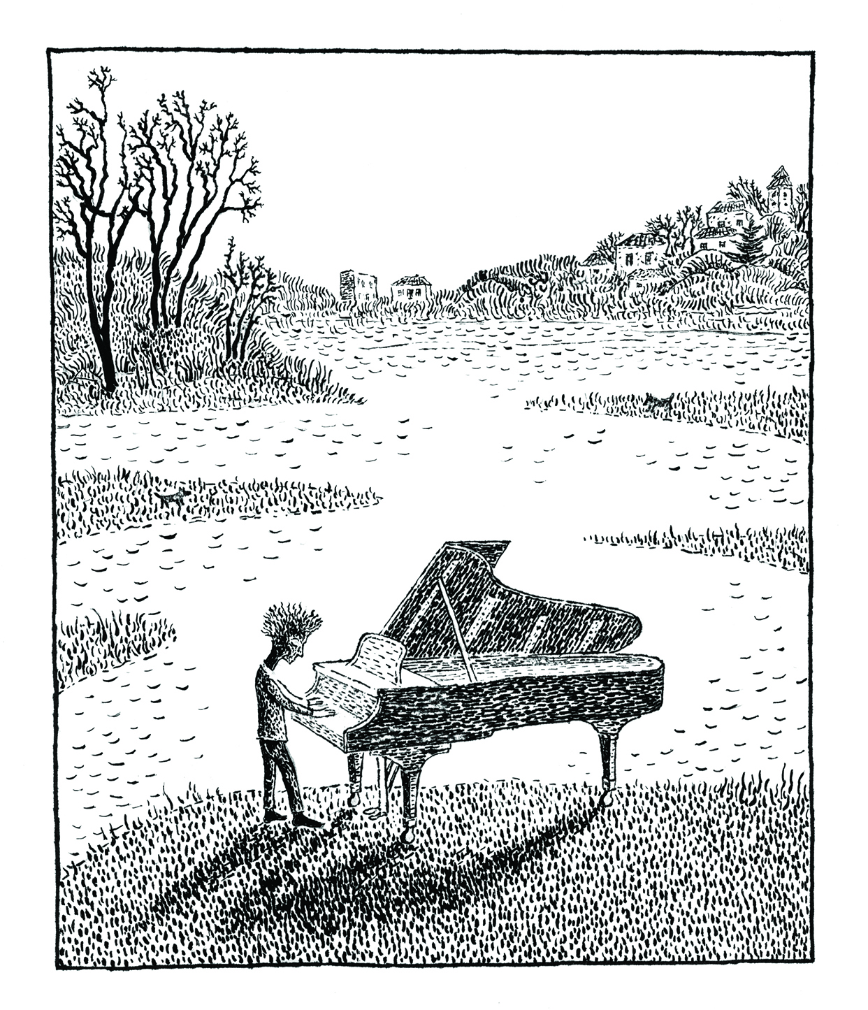 """Piano"", lithograph, 5"" x 4"", $180"
