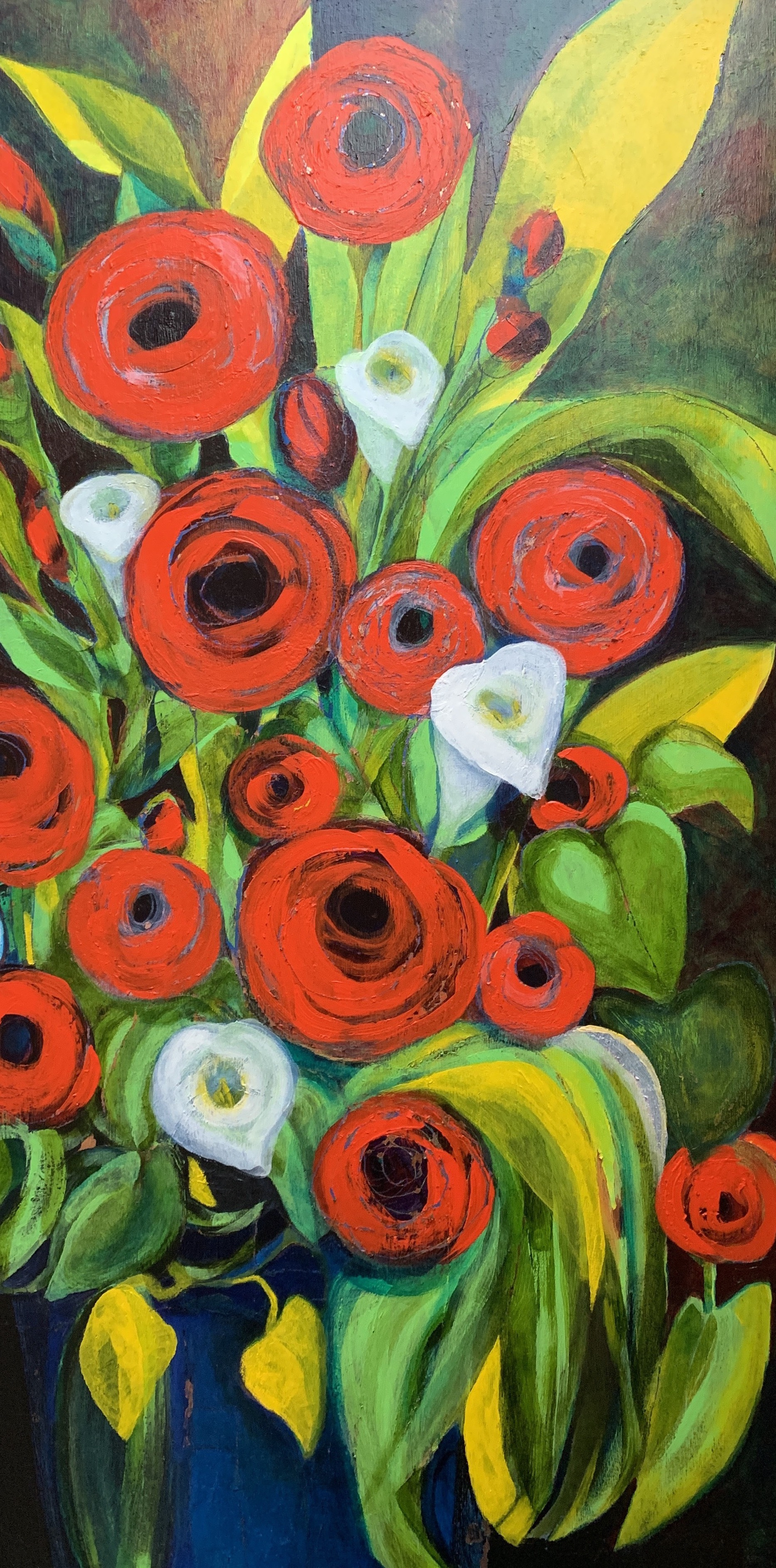 """Red Poppies & Yellow Leaves"", copper leaf, acrylic on panel, 36"" x 18"", $2,000"