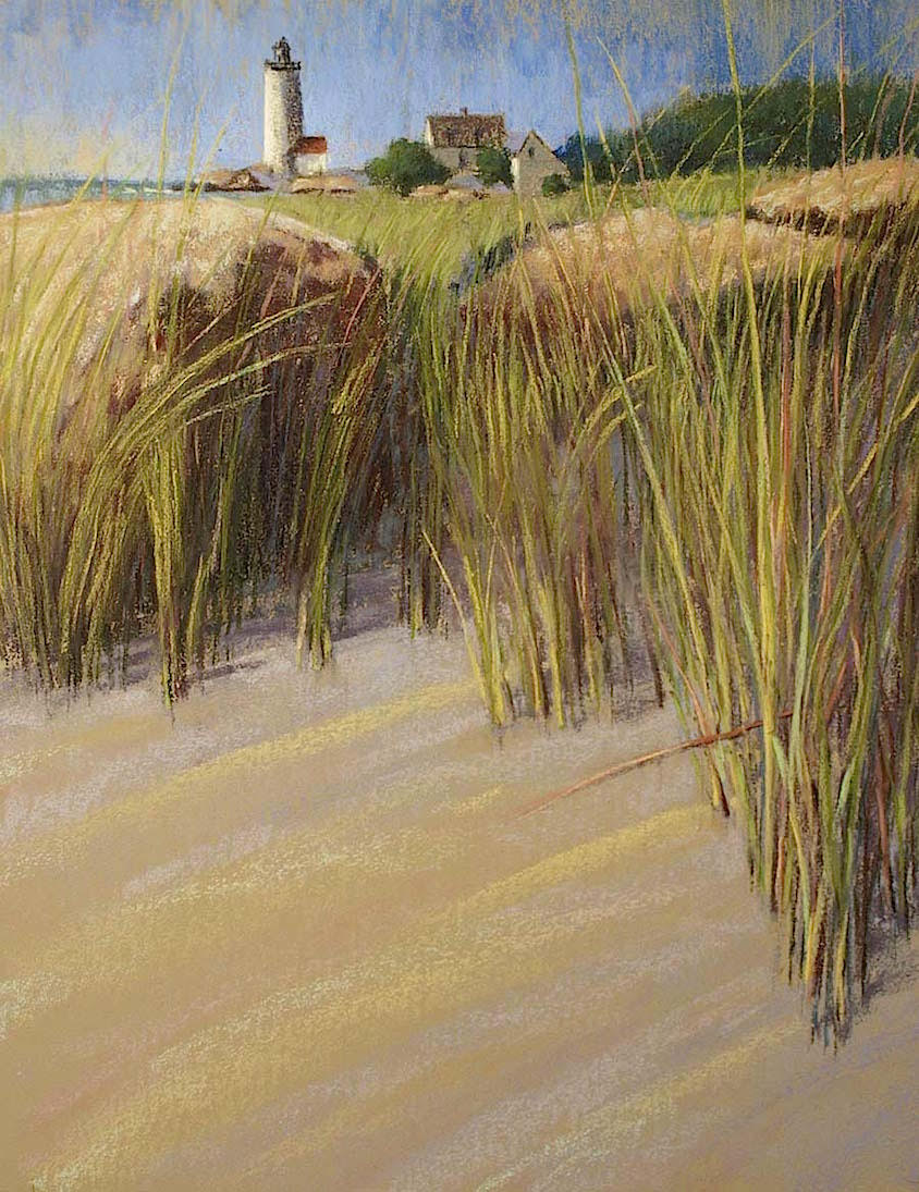 """Annisquam Light With Grasses"", pastel on sanded paper, 18"" x 21"", $1,000 (framed)"