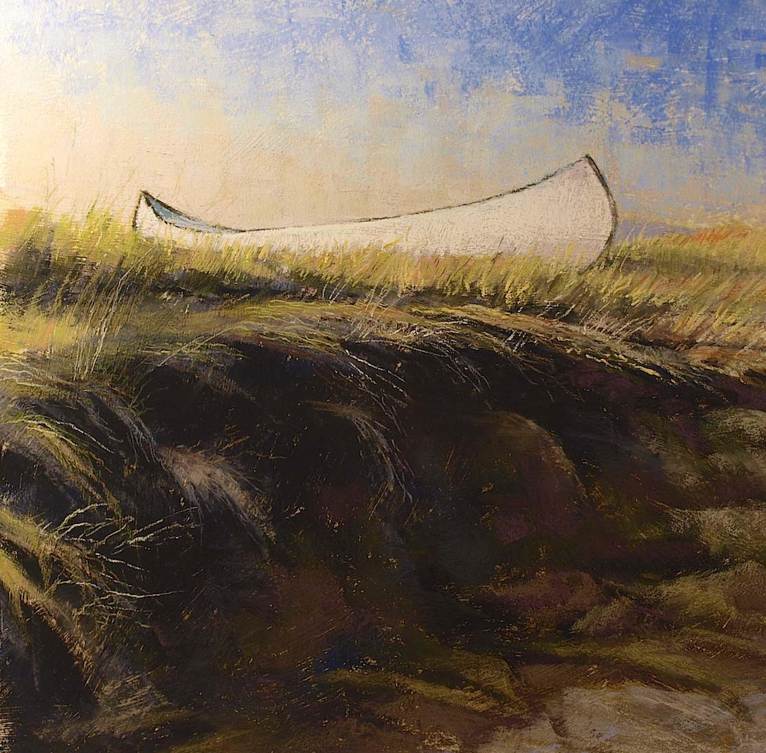 """Canoe Aglow By Island Road"" Essex, pastel on sanded paper, 21"" x 21"", $1,800 (framed)"