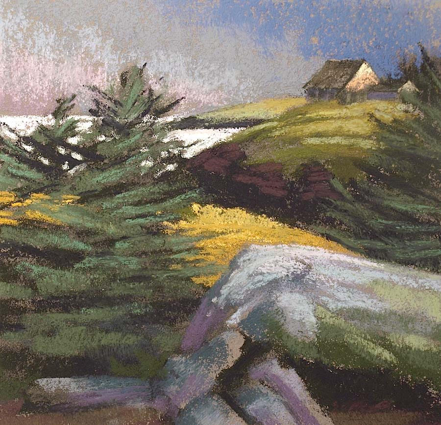 """Lobster Cove With Early Sun"" Monhegan, plein air pastel on sanded paper, 11.5"" x 11.5"", $450 (framed)"