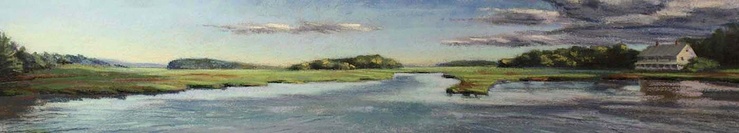 """Marsh House Panorama"", pastel on sanded paper, 11.5"" x 31.5"", $1,600 (framed)"