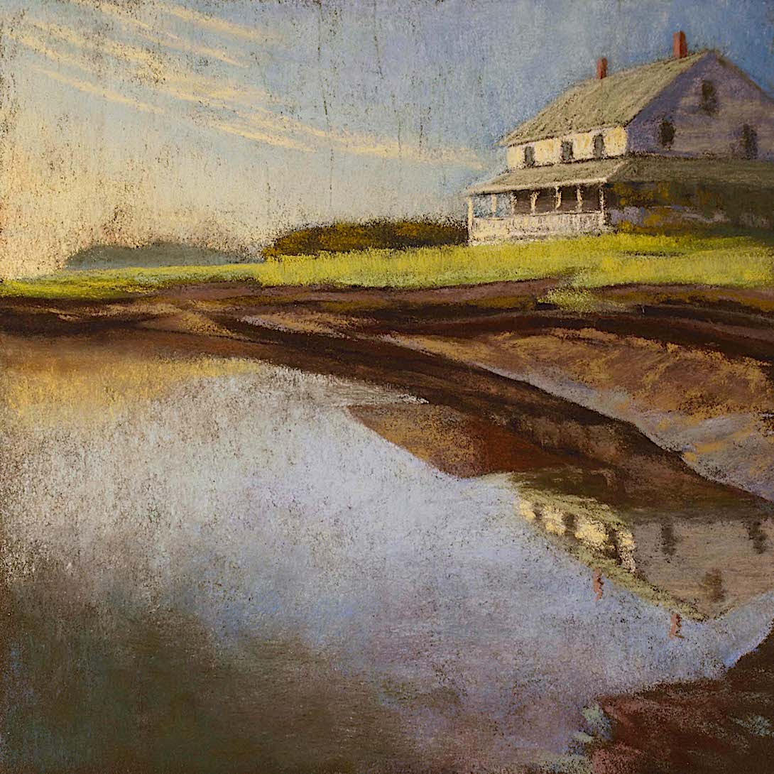 """Marsh House, Evening"" Essex, pastel on sanded paper, 14"" x 14"", $700"
