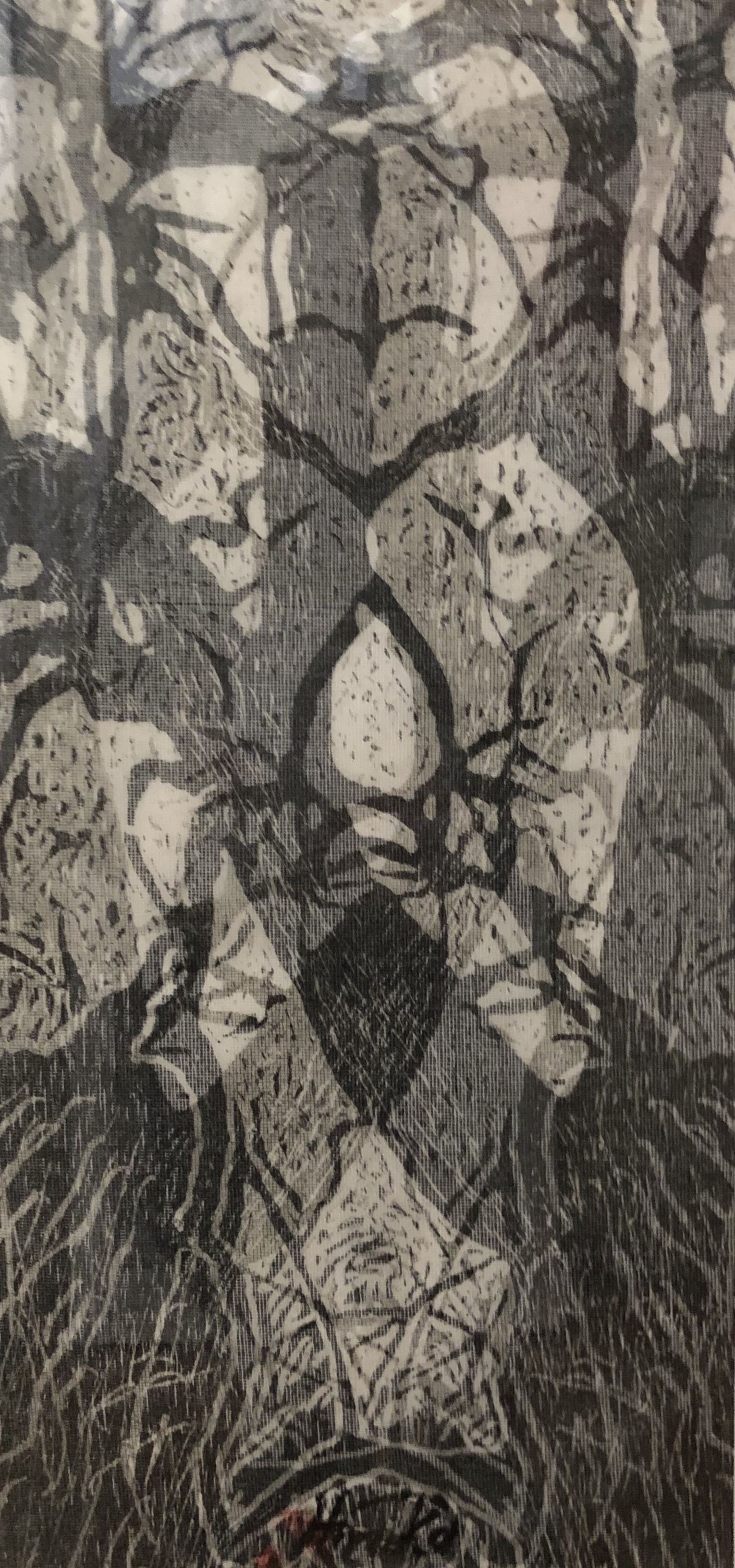 """""""Tree Odyssey 6"""", woodcut/layered"""