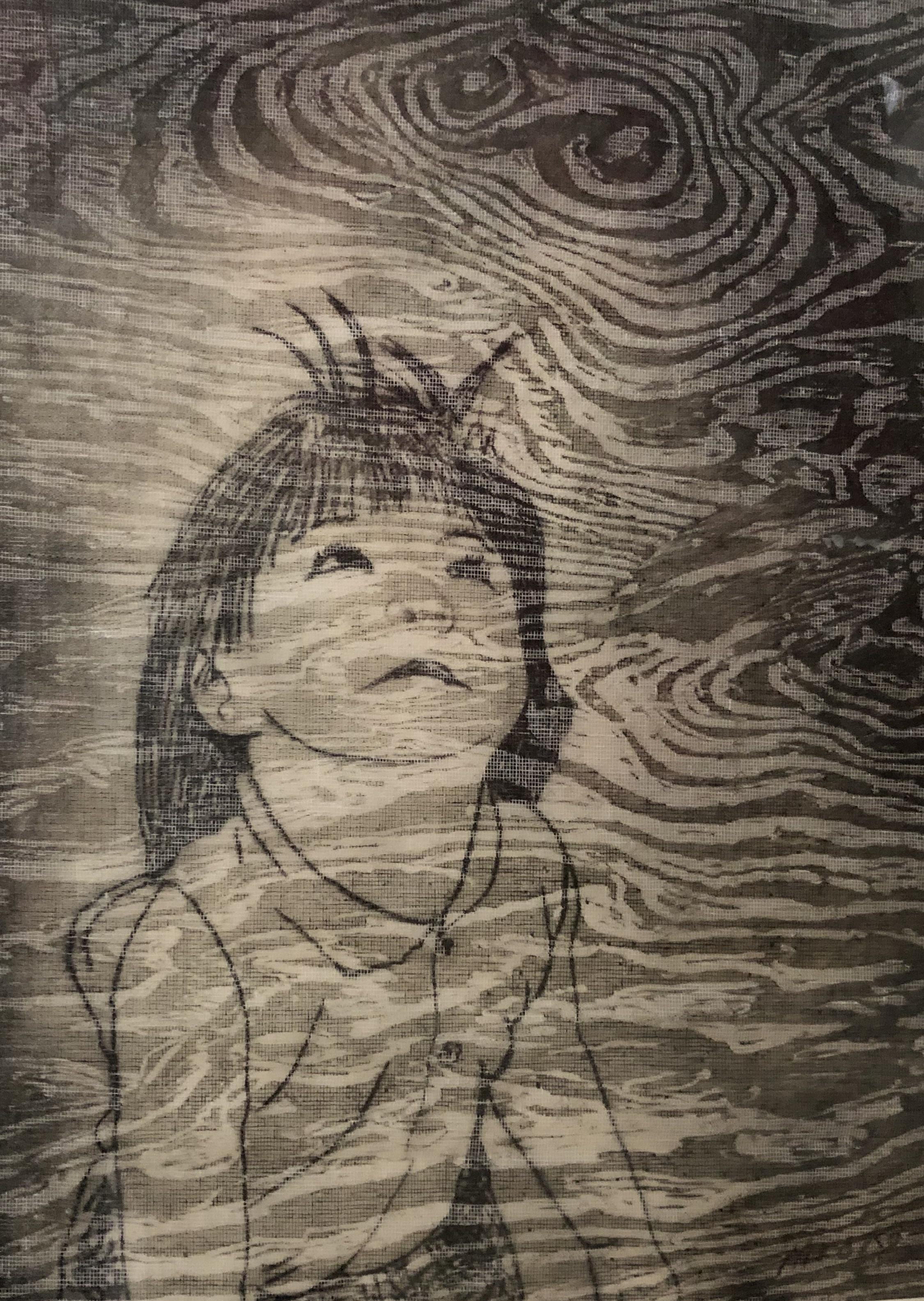 Looking Up, woodcut