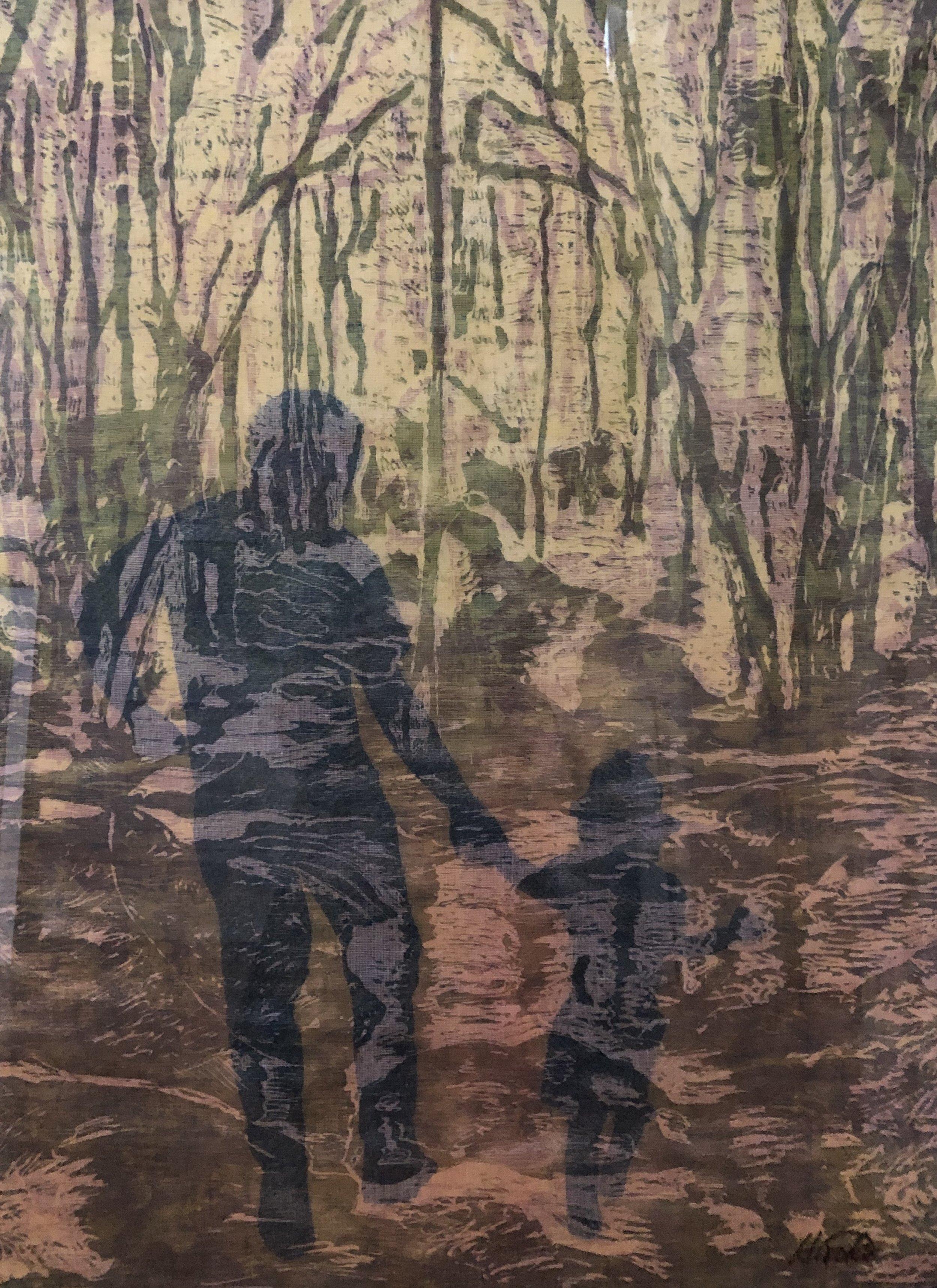 """Togetherness"", woodcut/layered"