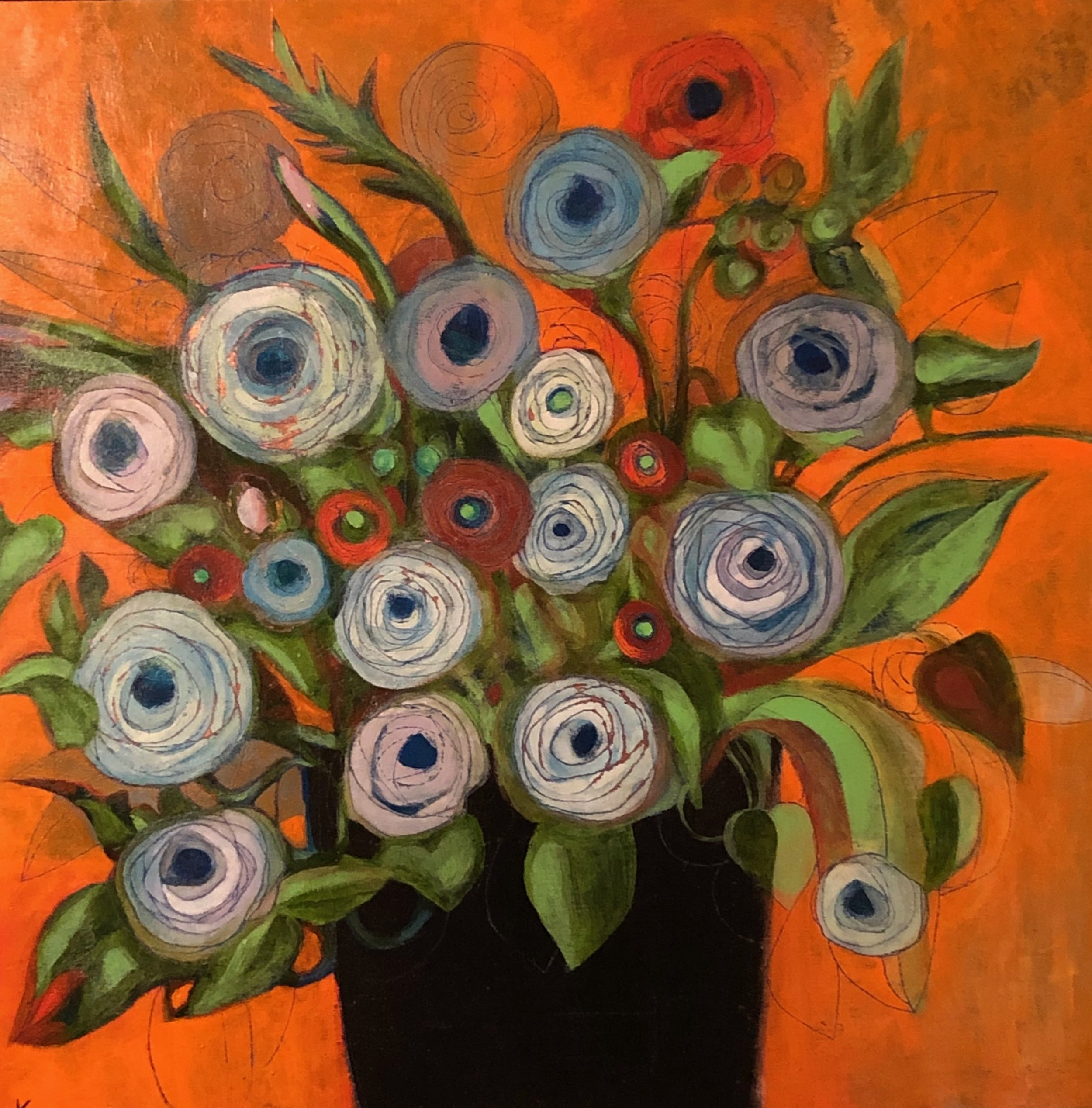 """Violet Blooms In Orange"", copper leaf, acrylic on panel, 24"" x 24"", $1,200"