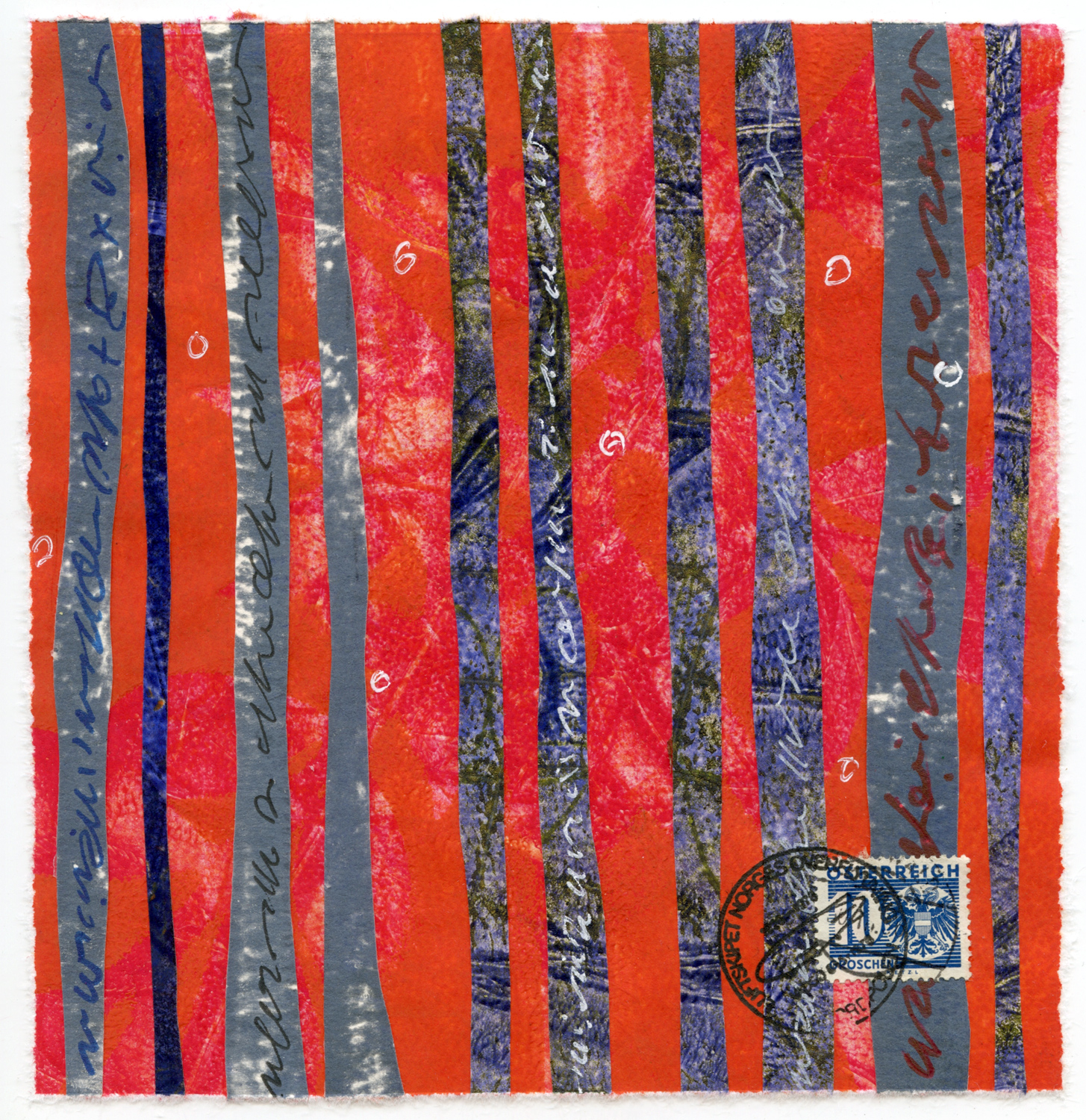 """""""Red Trees"""", monotype collage, 6"""" x 6"""", $125"""