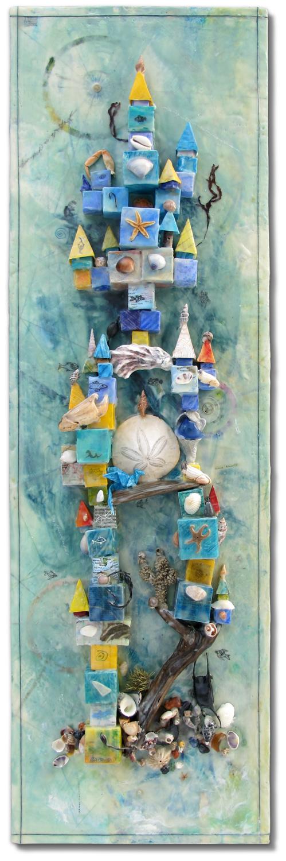 """Neptune's Castle"", encaustic monotype, origami, 36"" x 12"", $650"
