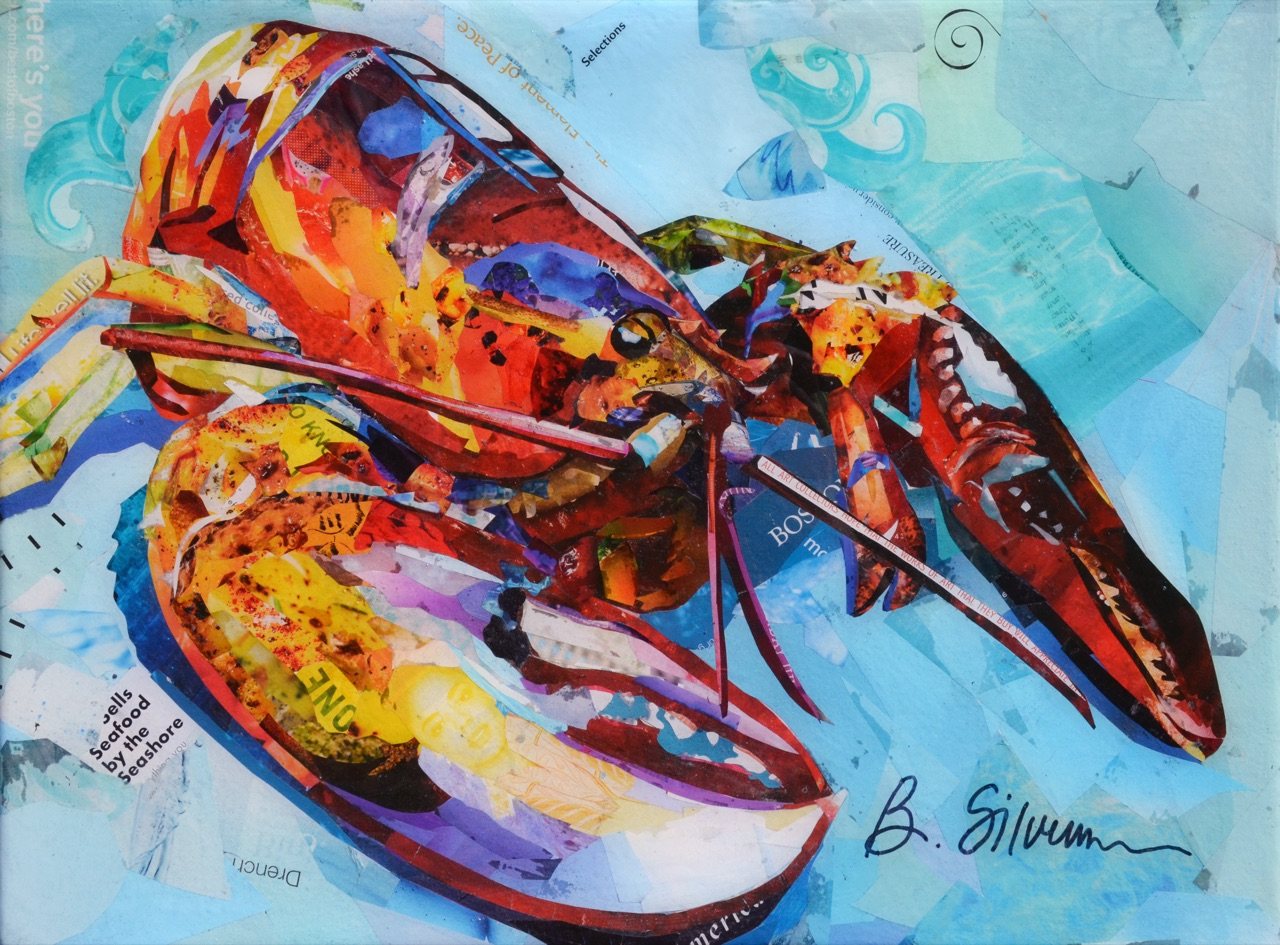 """Rock Lobster II"", collage, 12"" x 16"", $575"