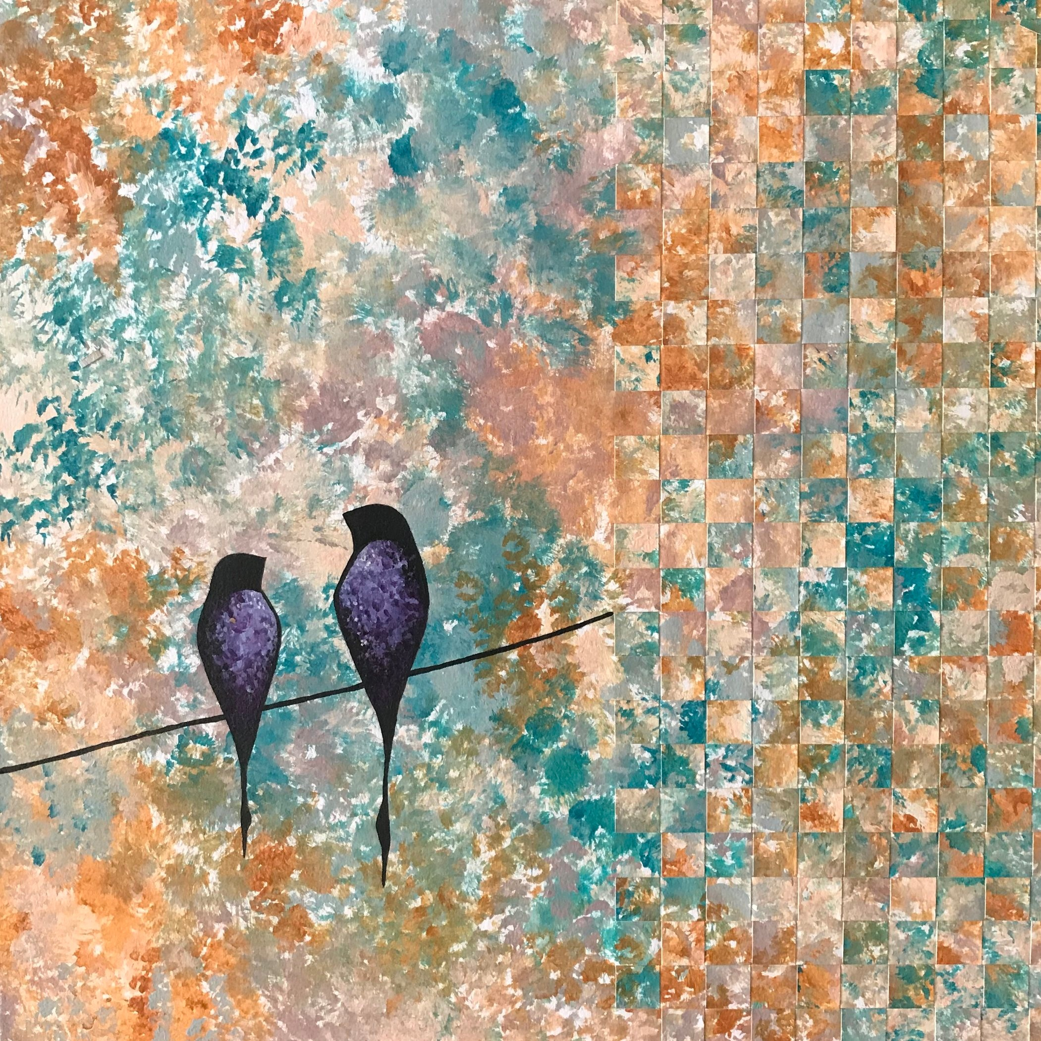 """These Moments"", painted paper weaving, 12"" x 12"", $120"