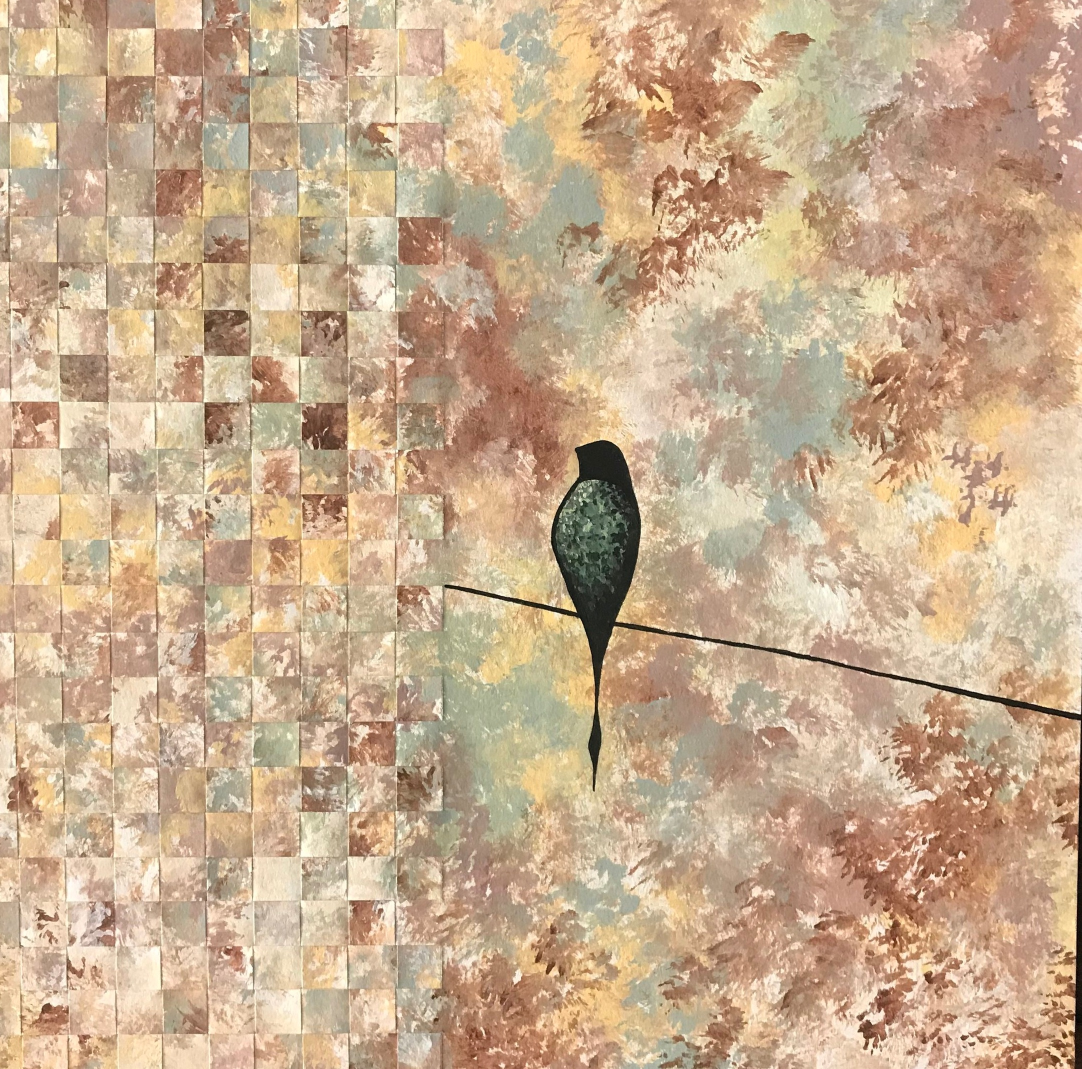 """Fall Into Silence"", painted paper weaving, 12"" x 12"", $120"
