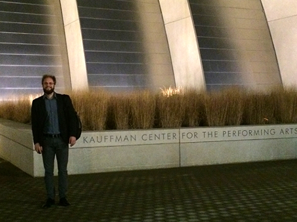 Steuart before his performance at the Kauffman Center in Kansas City