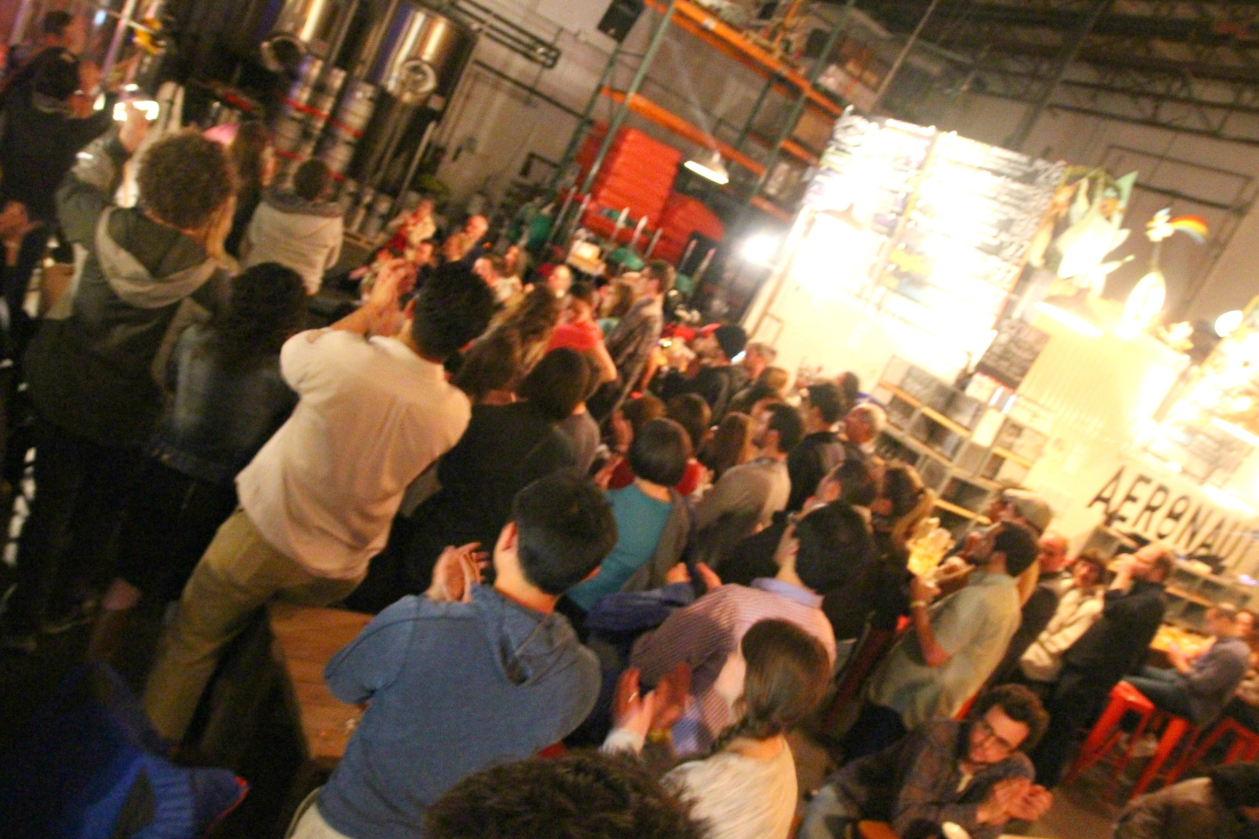 An enthusiastic crowd at Aeronaut Brewing
