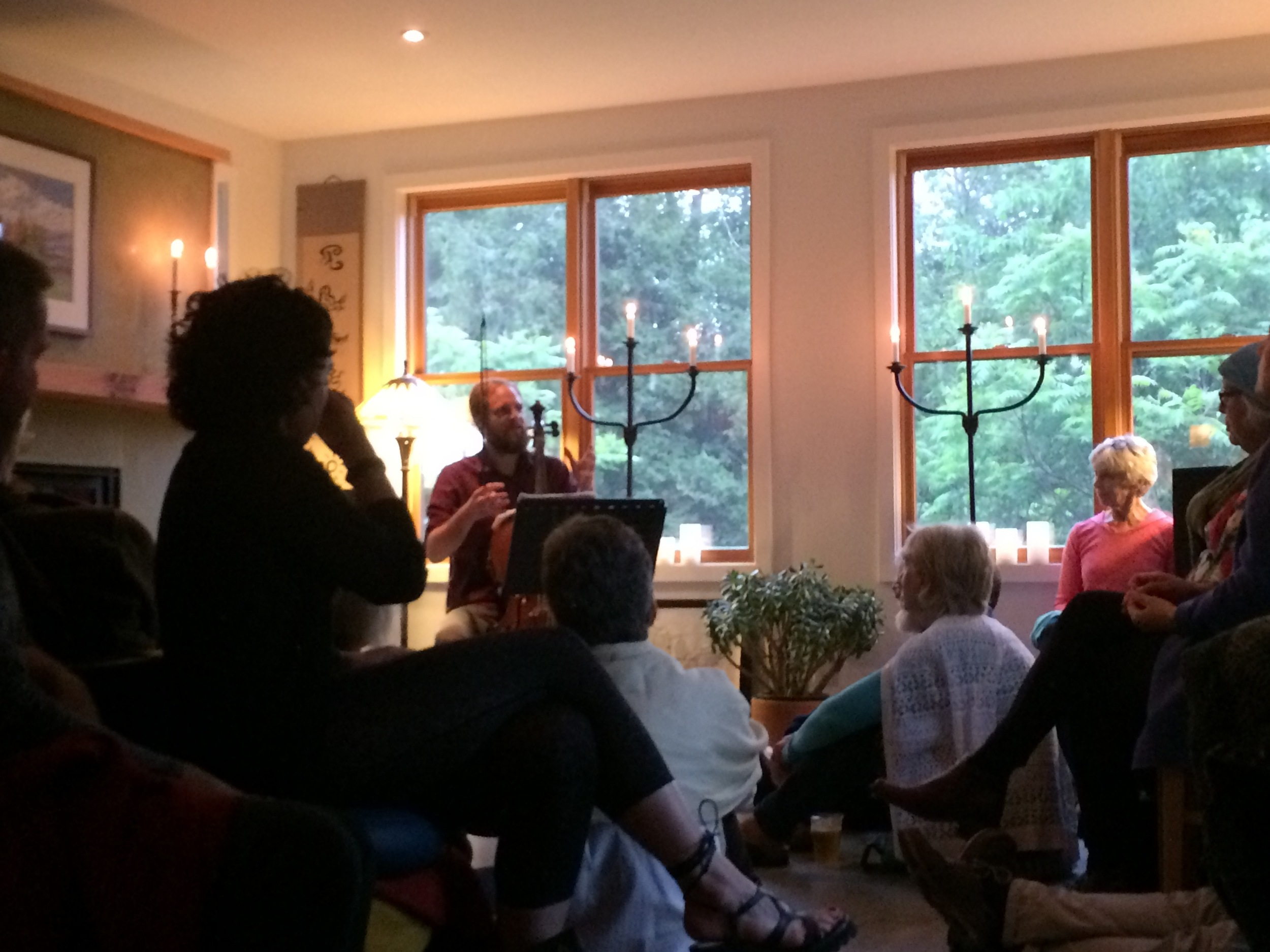 Our wonderful house concert in the Gatineau Hills with 70+ people