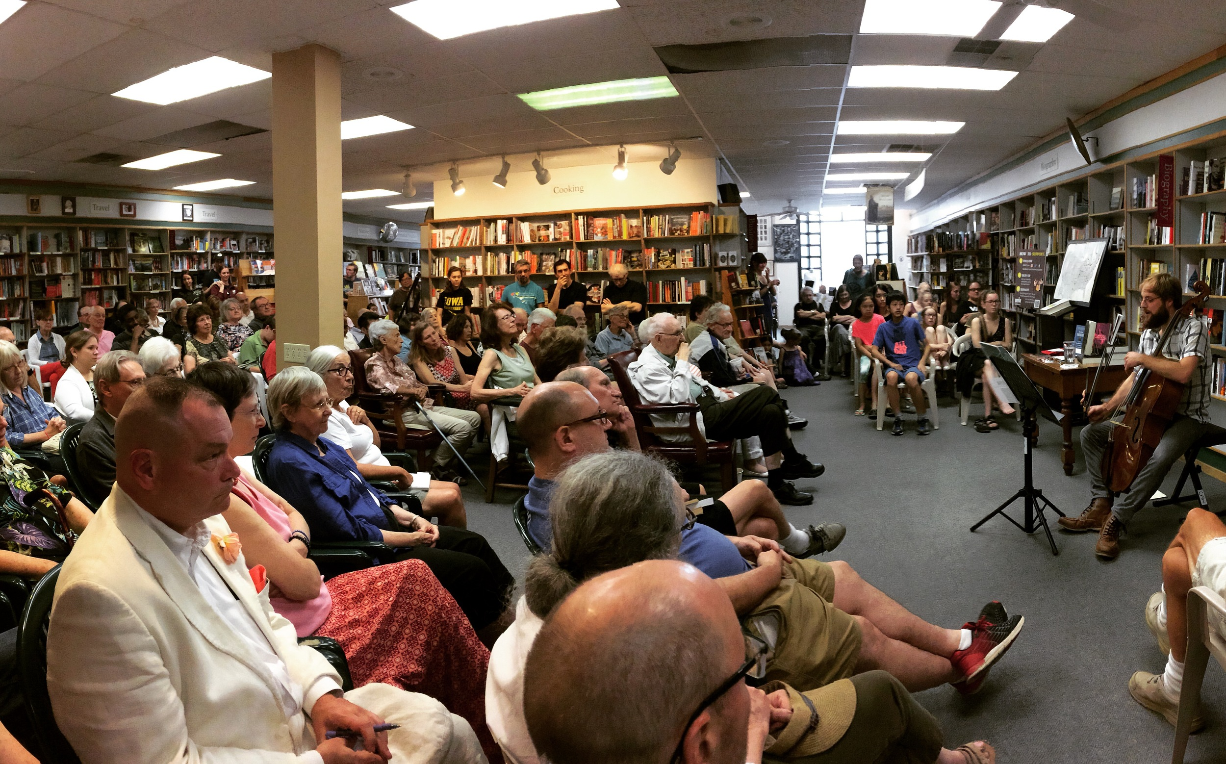 The Bach Reader concert at Prairie Lights Bookstore & Cafe in Iowa City.