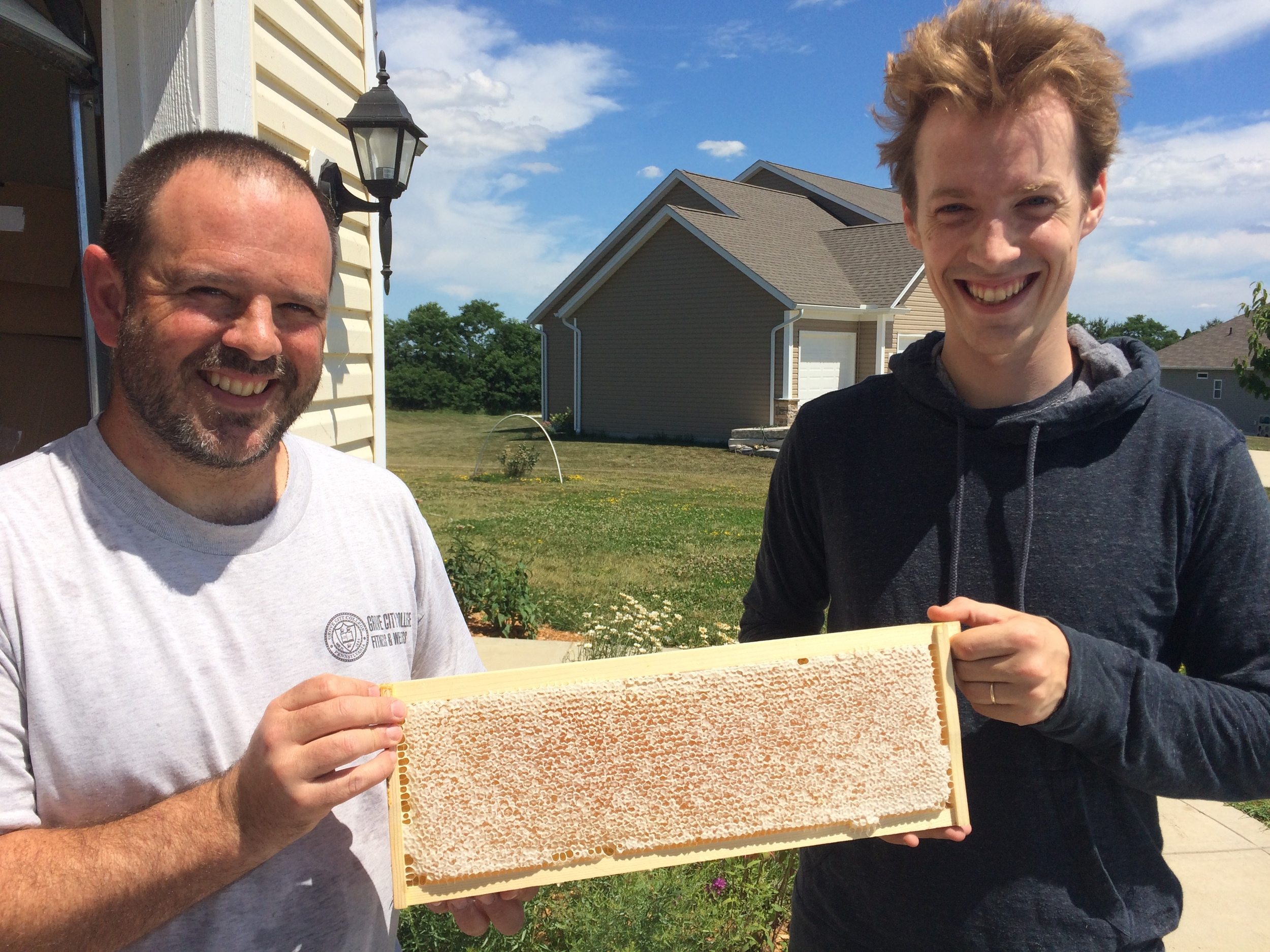 The proud bee keepers, Sam Foster and Mathias Reed!