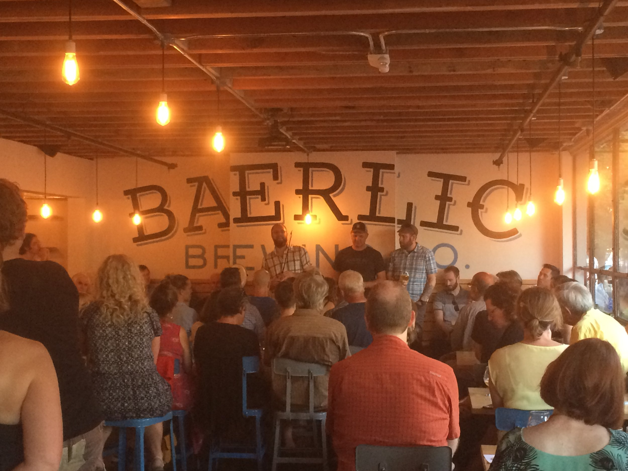 """The two owners and brewers at Baerlic Brewing shared with the audience how they are adapting traditional styles to the modern taste. The third beer on offer was called """"Old Blood & Guts"""", and went perfectly with Bach's Suite no. 4"""