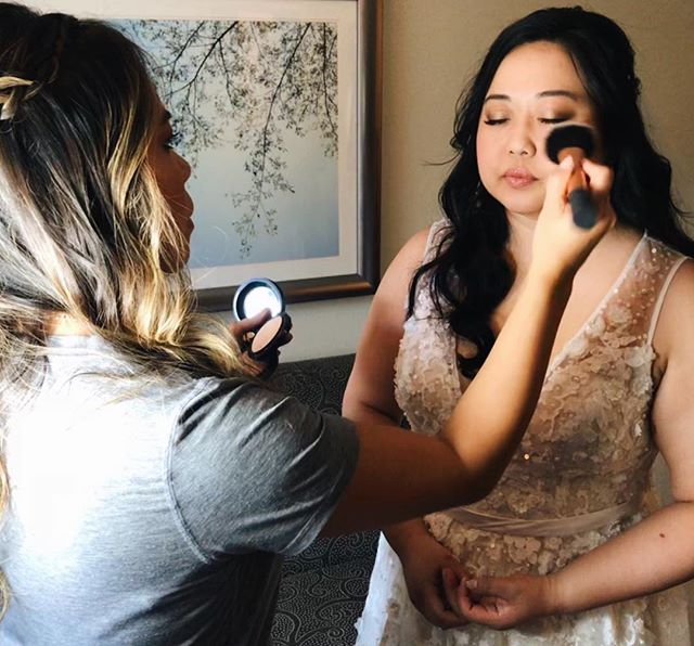 Wedding group makeup application PRO tip! ☝🏼 Save lipstick and blush application til the very end.  Hugs, kisses, and eating will wear down any blush and lipstick anyway, and you'll save yourself lots of time and product by doing it as your final step.