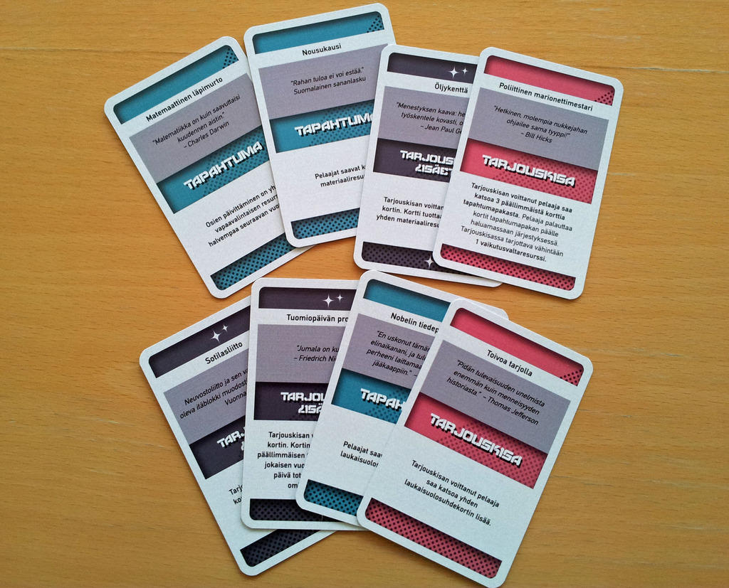 A selection of different event cards. P  rovided by  Renni Honkanen via BoardGameGeek.