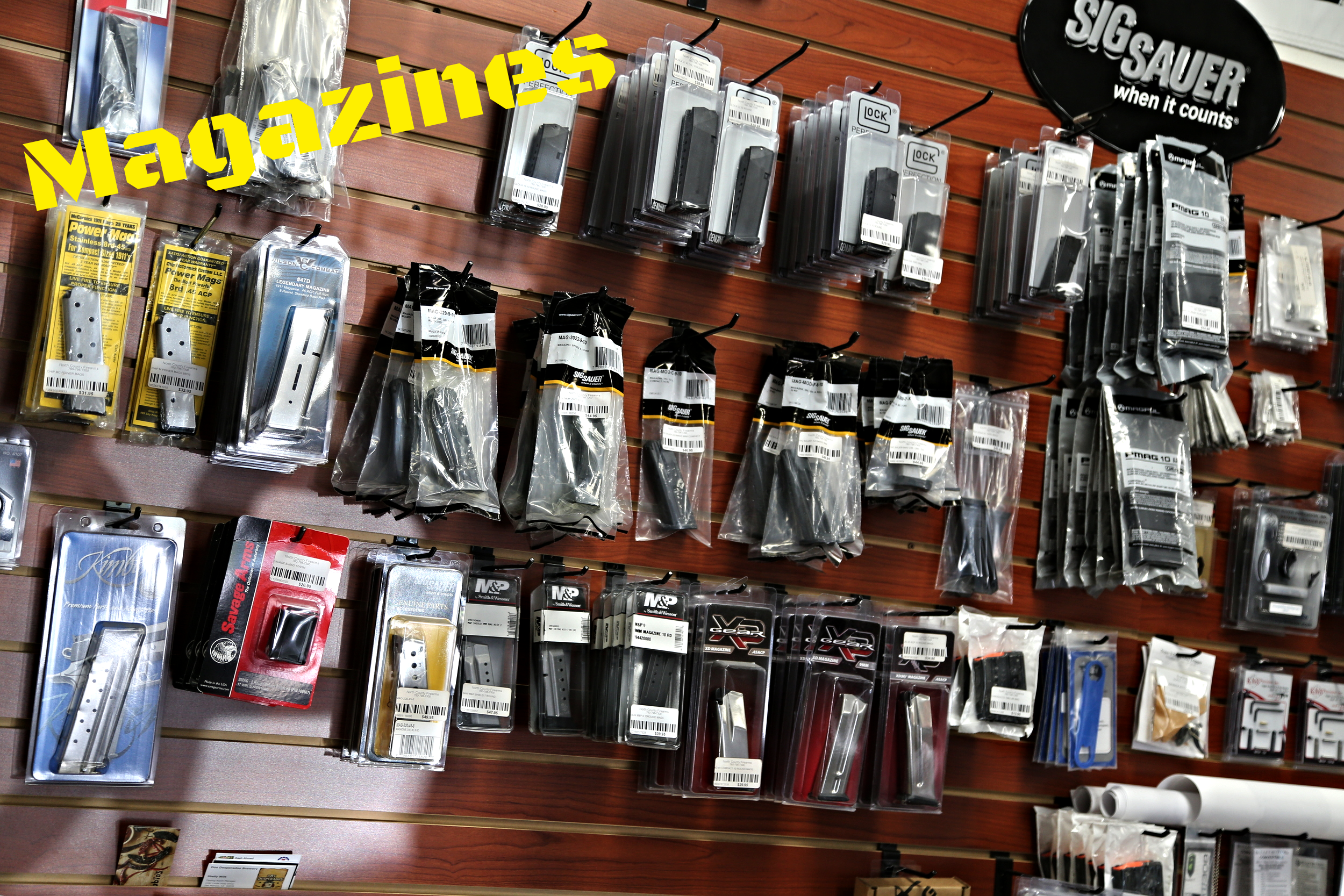 We never have a shortage of magazines for both rifles and handguns at our store, including even some hard to find items.  We carry a wide range of brands, such as: -Magpul -Glock -Sig Sauer   -Chip McCormick  -Springfield Armory -Savage Arms -Smith & Wesson -Kimber -Ruger -Wilson Combat   and more!
