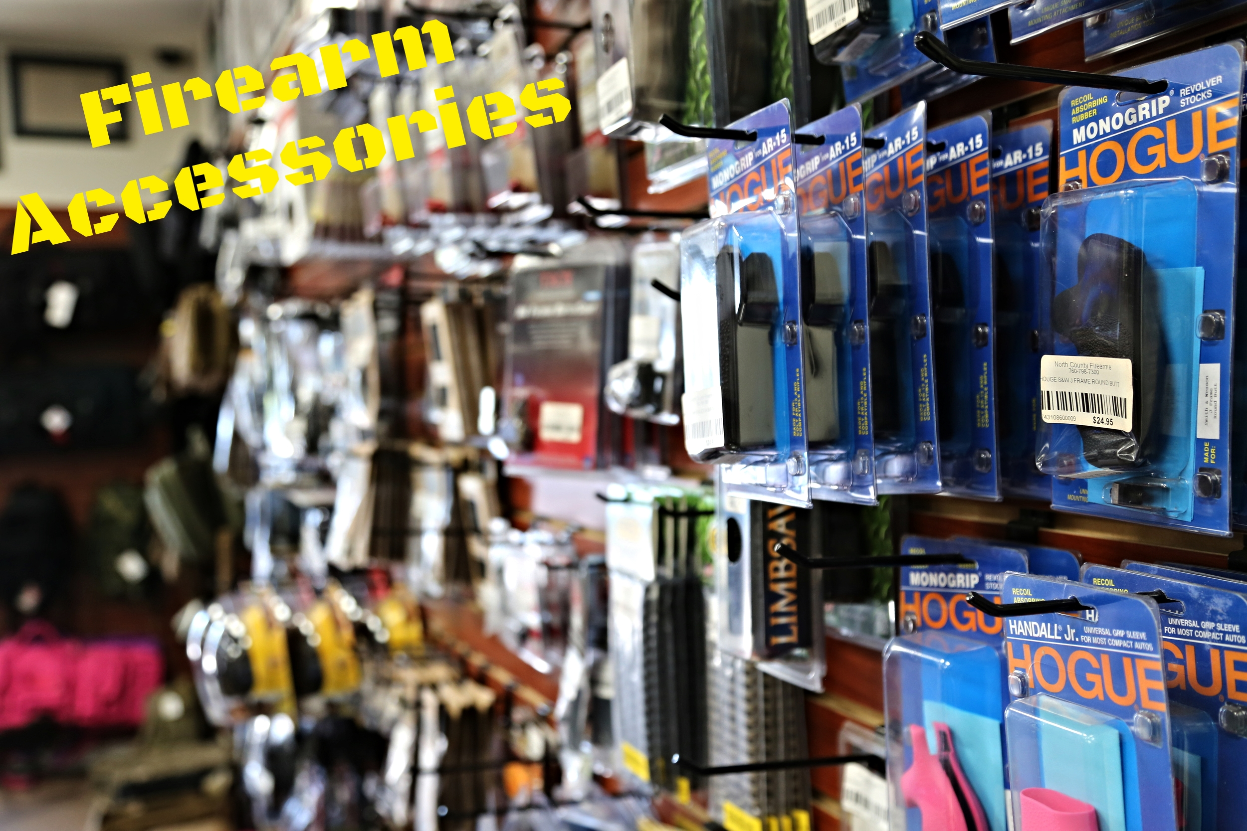 North County Firearms is always a stellar choice when looking for firearm accessories.  Everything from grips to sights, we got you covered!  We carry a lot of products by manufactures such as: -Tapco -CMMG -Magpul -Hogue -Troy -Sig Sauer -Uncle Mike's   -Harris -Ergo Grip -Smith's -Butler Creek -Carlson's -TacStar -SureFire -Howard Leight -Geissele   -Noveske -BCM -Lantac -Strike Industries -Remington  and many more!