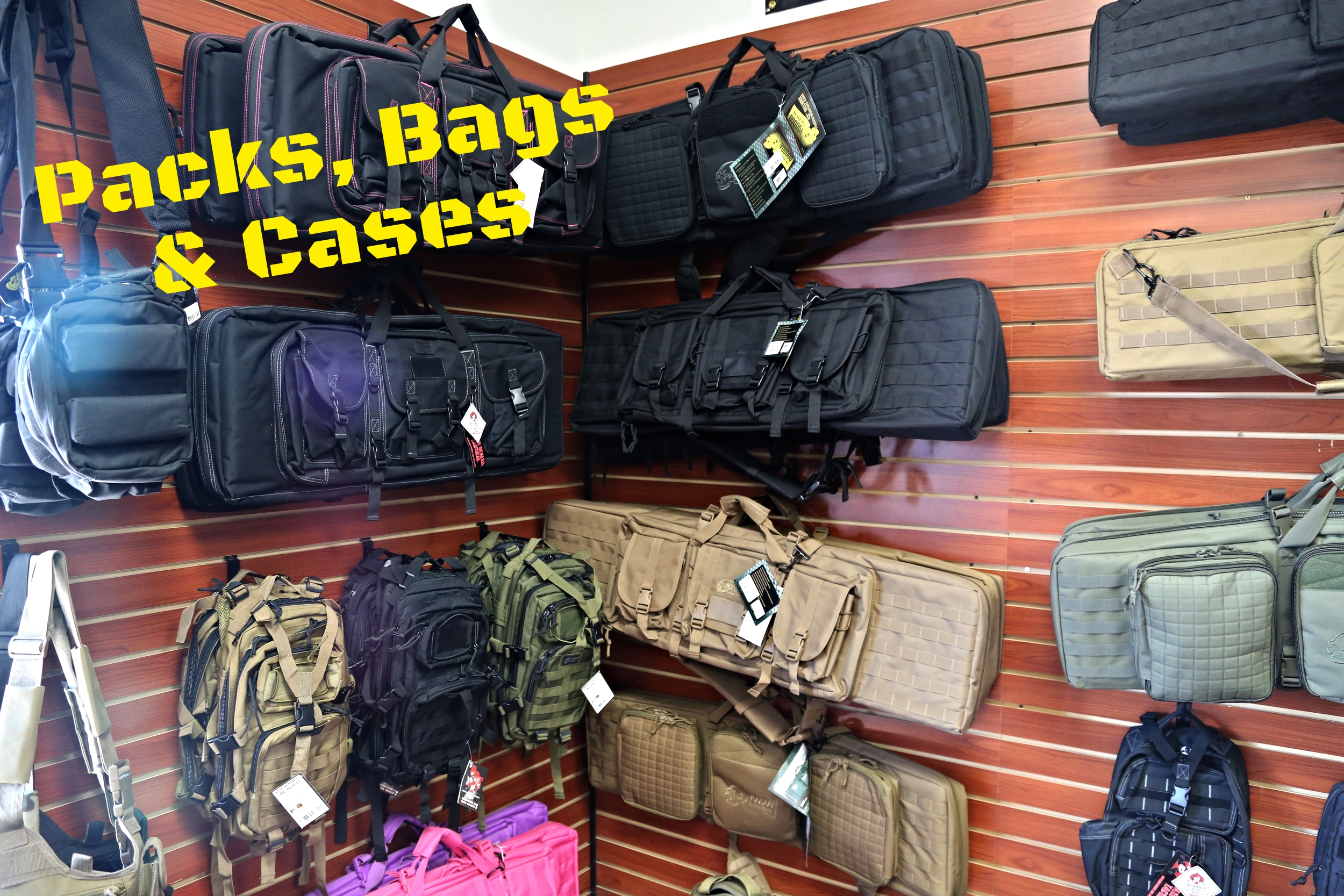 We have a great selection of firearm and survival packs, bags and cases.  We carry such stellar brands as: -5.11 - VooDoo Tactical -Death Dealer Tactical -GPS Tactical -Pelican -Plano    and many more!