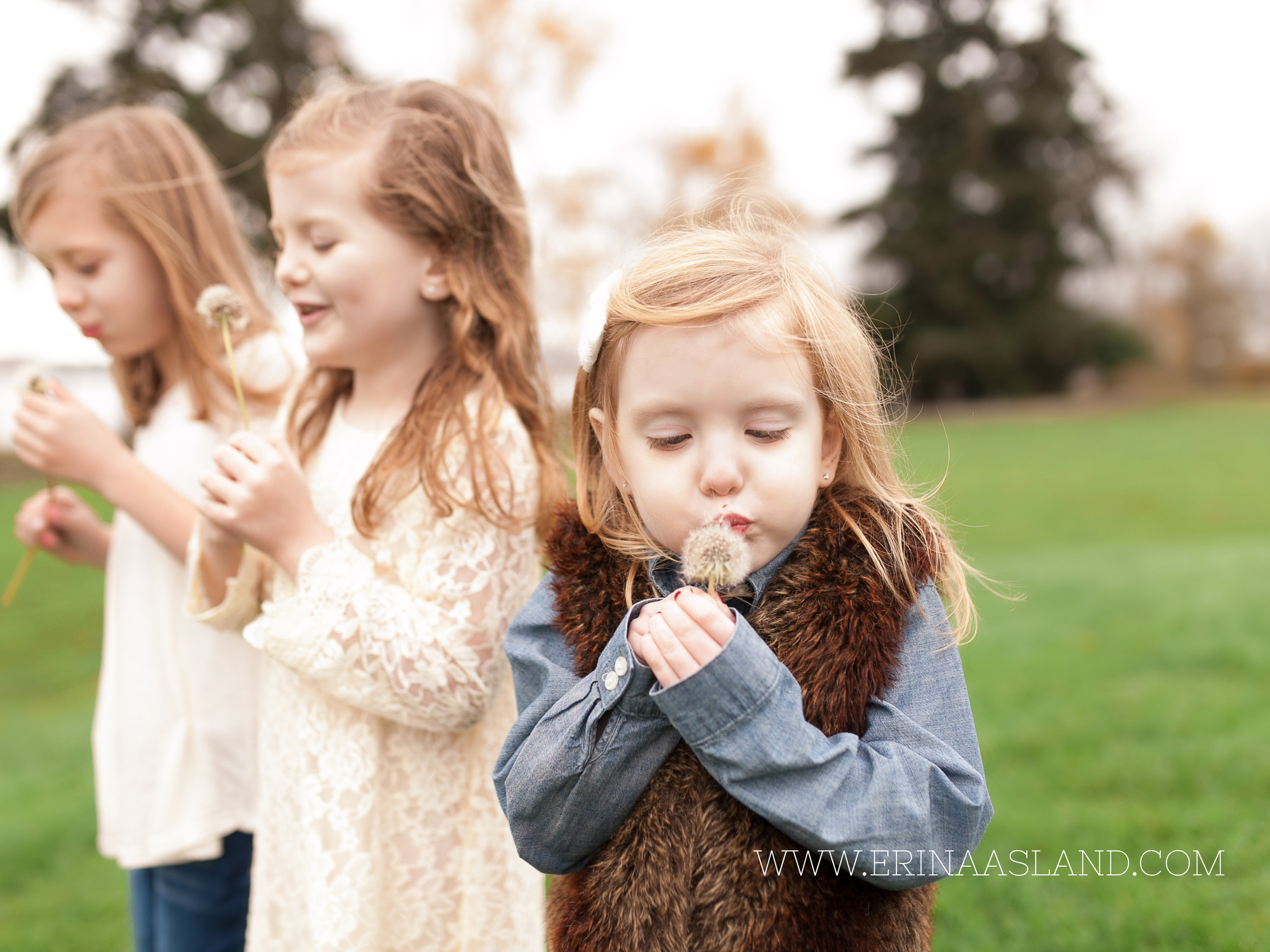 Erin Aasland Snoqualmie Childrens Photographer Sisters  Blowing Dandilions