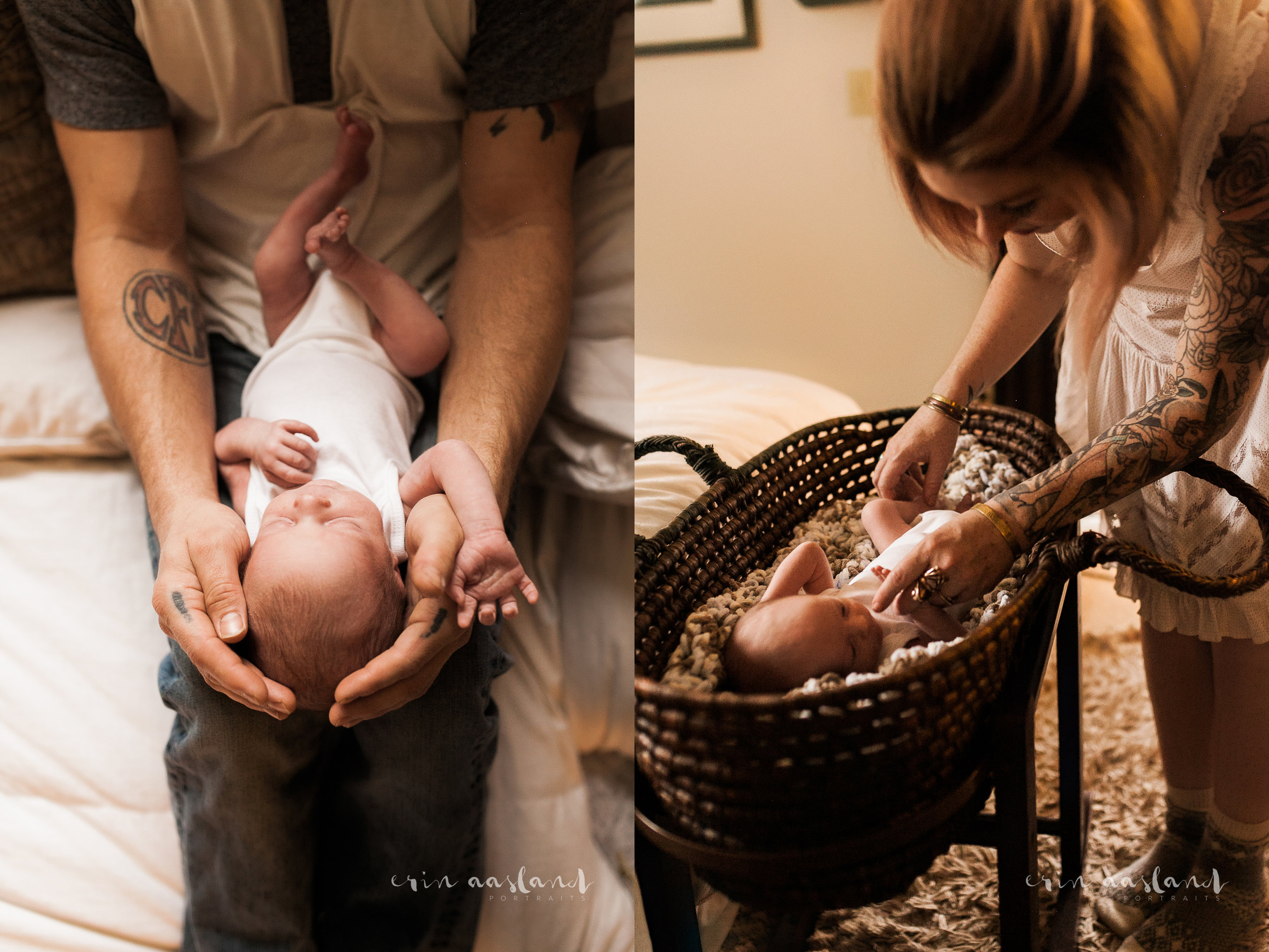 Erin Aasland Snoqualmie Newborn Photographer Home Session daddy's arms bassinet