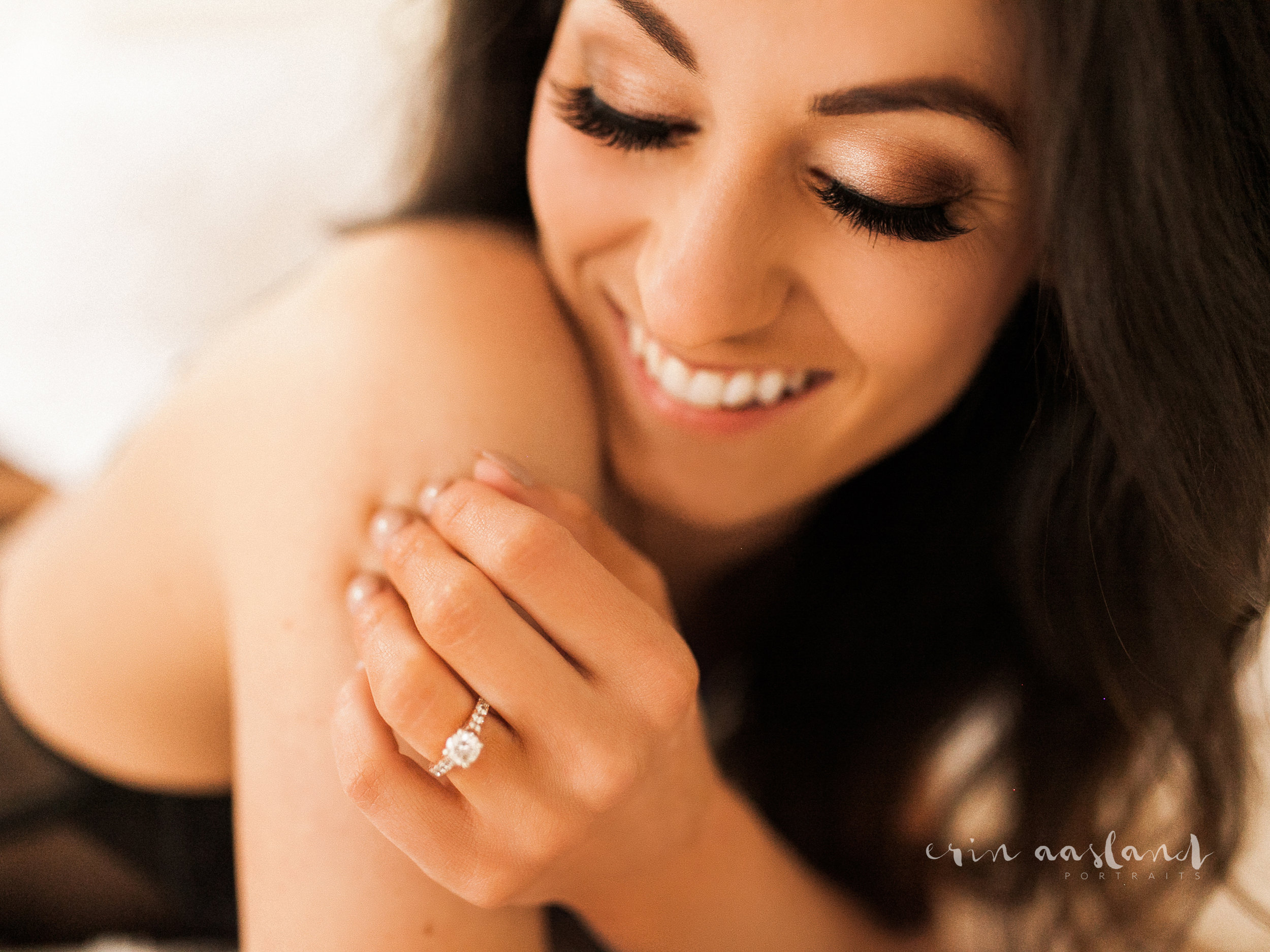 Erin Aasland Snoqualmie Boudoir Photography Laughing Wedding Ring