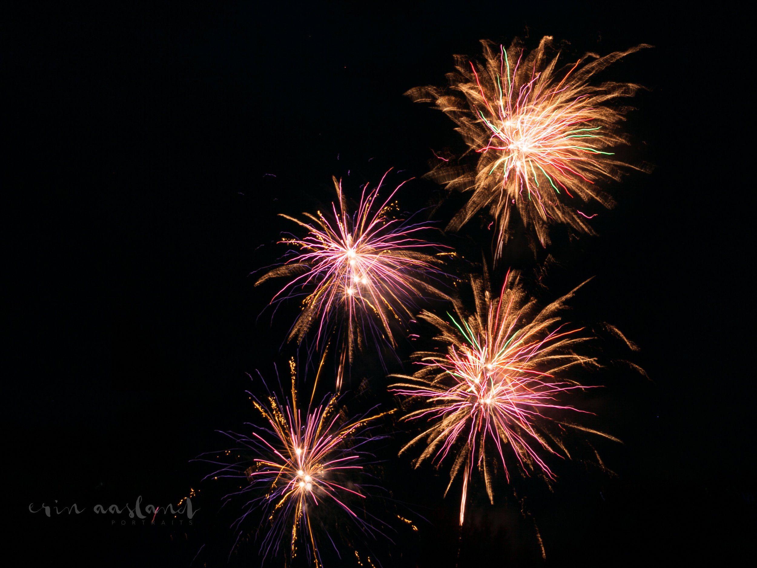 Erin Aasland Photographer 4th of July Pink Green Fireworks