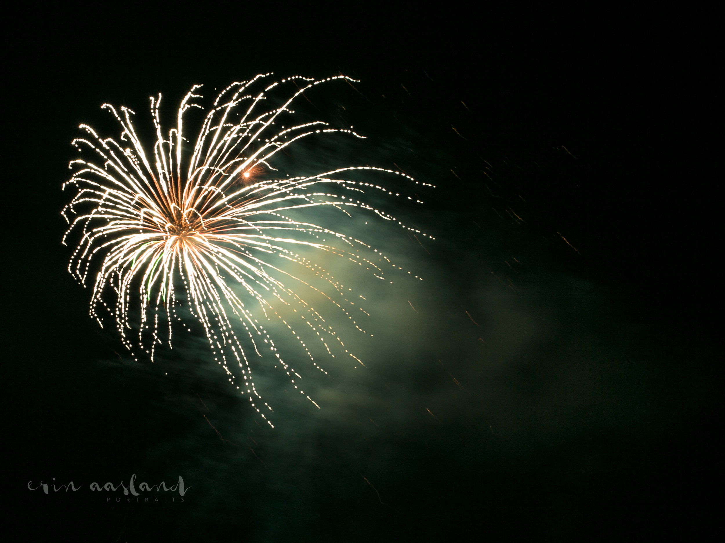 Erin Aasland Snoqualmie Photographer Fireworks White and Green cloud burst