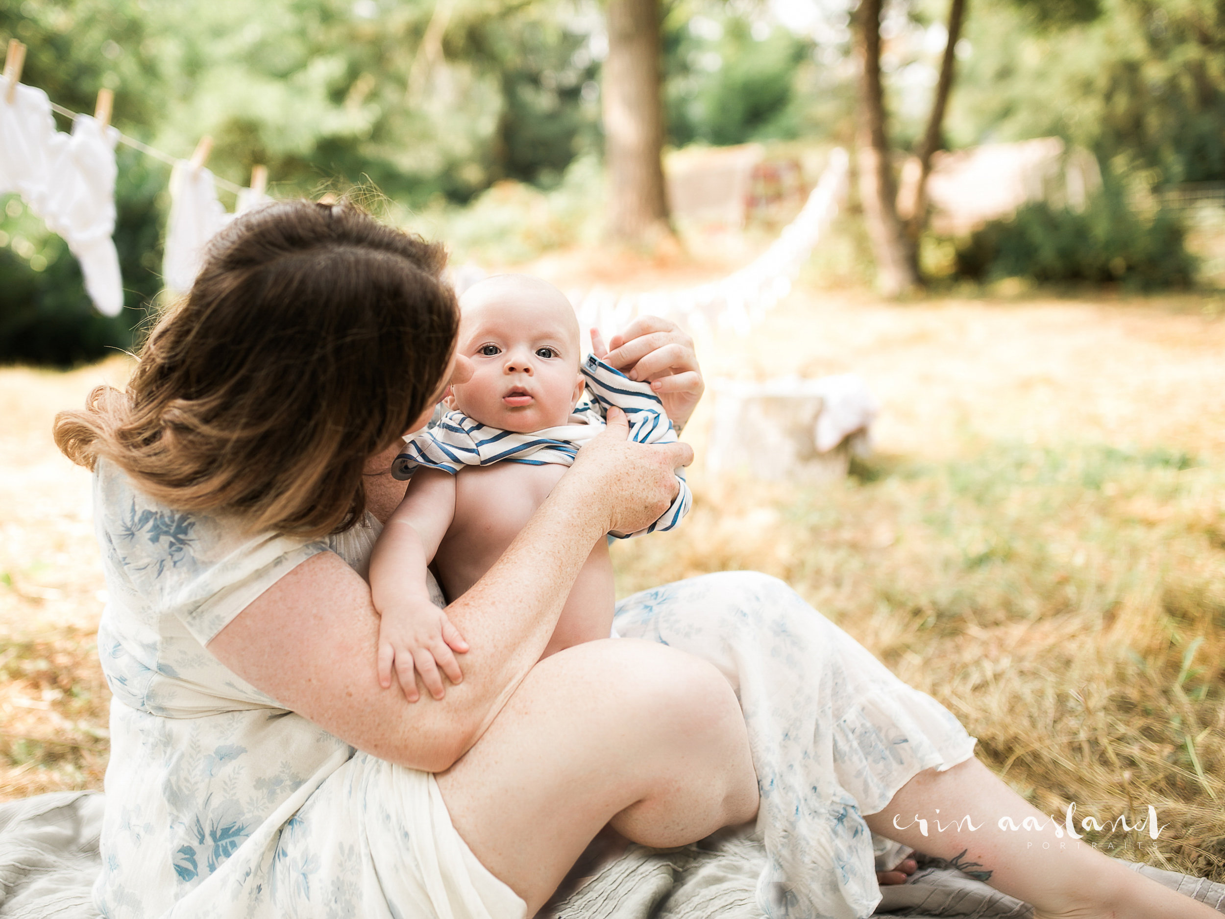 Erin Aasland Snoqualmie Photographer 6 month baby momma changing baby