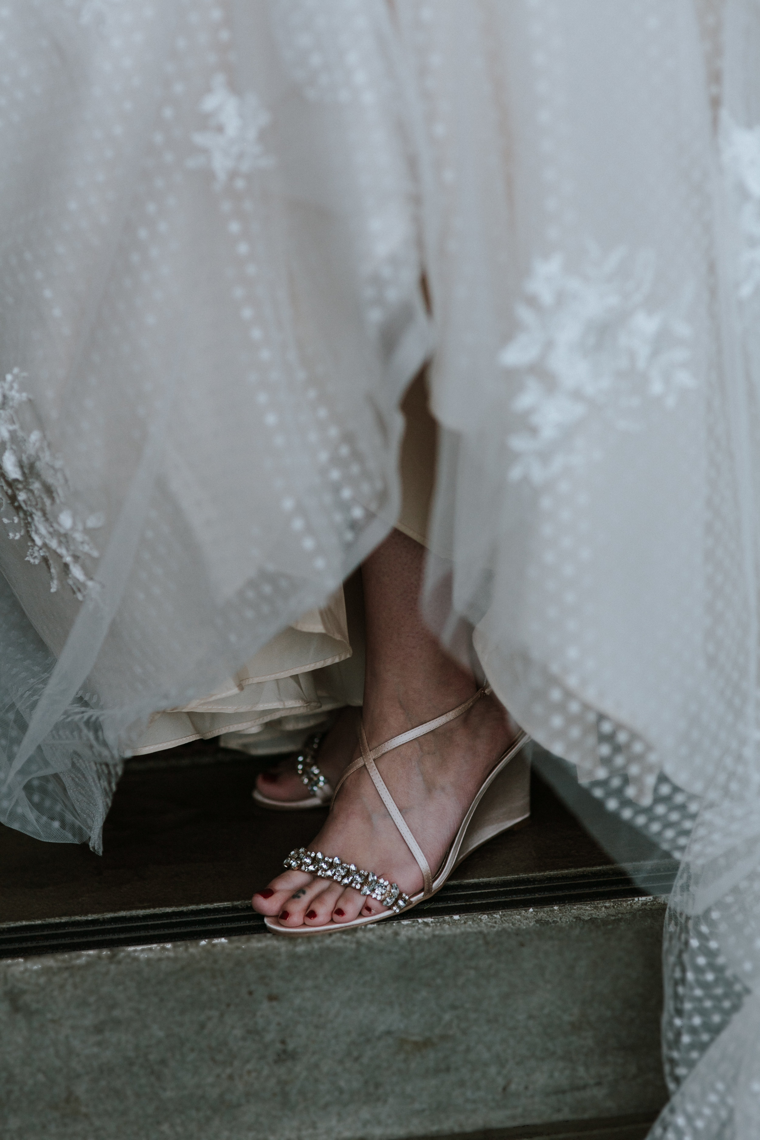 vintage lace dress and jeweled shoes wedding bride